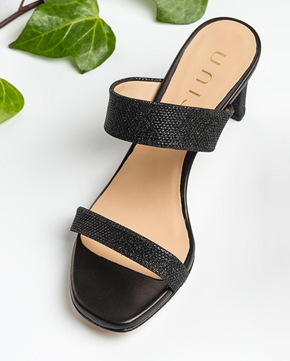 UNISA Glänzende Clogs mit doppeltem Riemen MANTO_EV_NA black 5