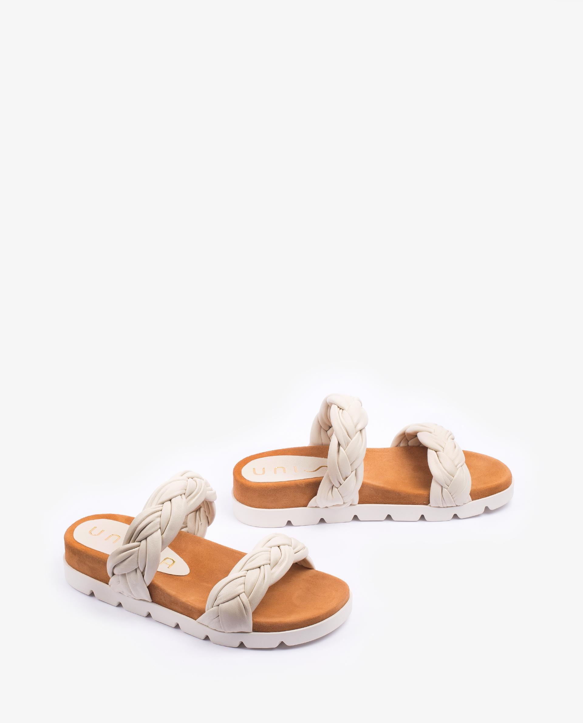 UNISA Flat leather sandals with braided straps CAIRO_NS 5