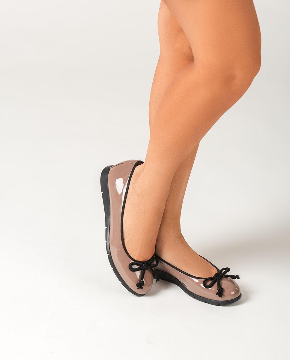 UNISA Nudefarbene Lackleder-Ballerinas ALCOT_F20_PA shade 5