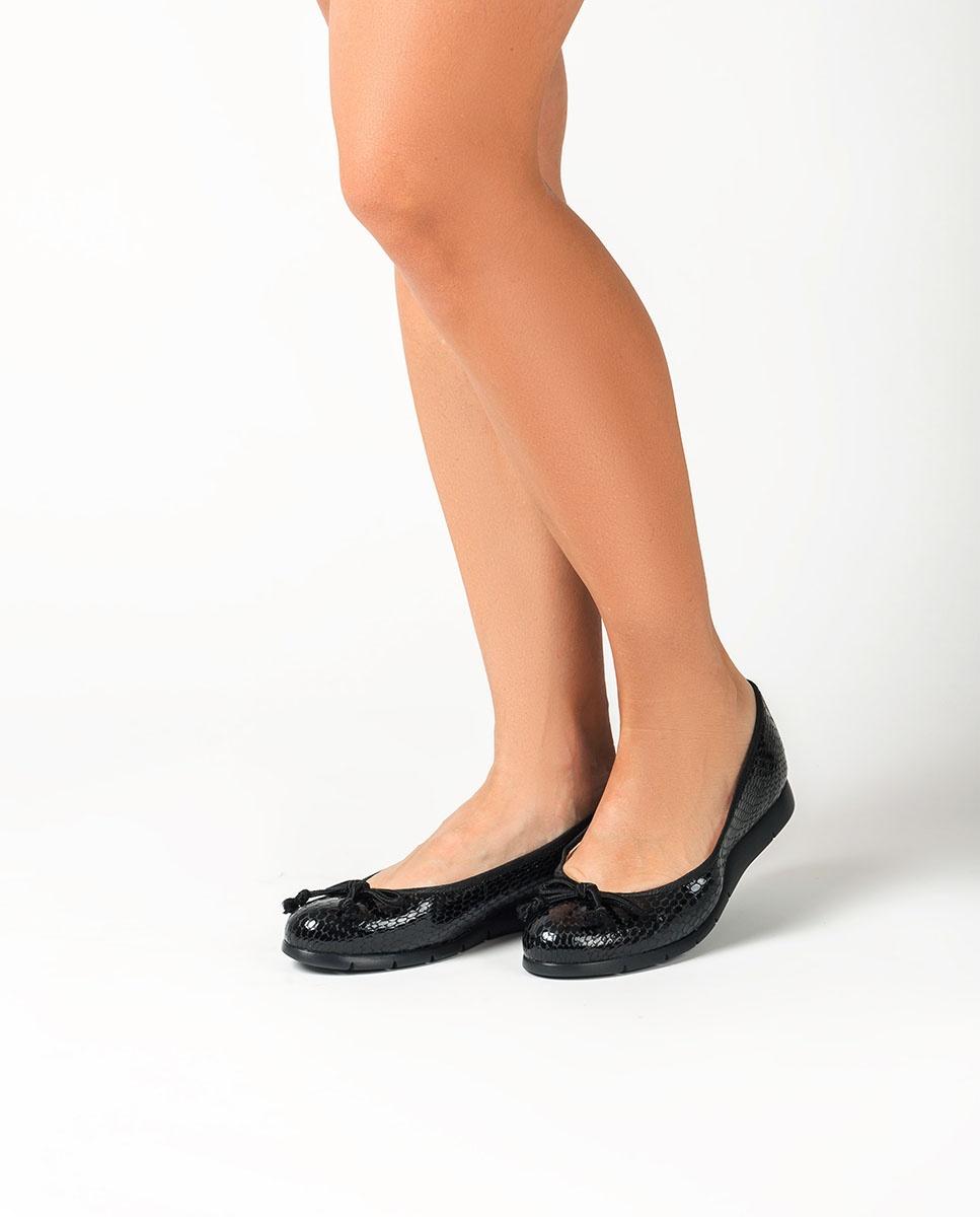 UNISA Schwarze Ballerinas mit Schlangenprägung ALCOT_F20_VSH black 5