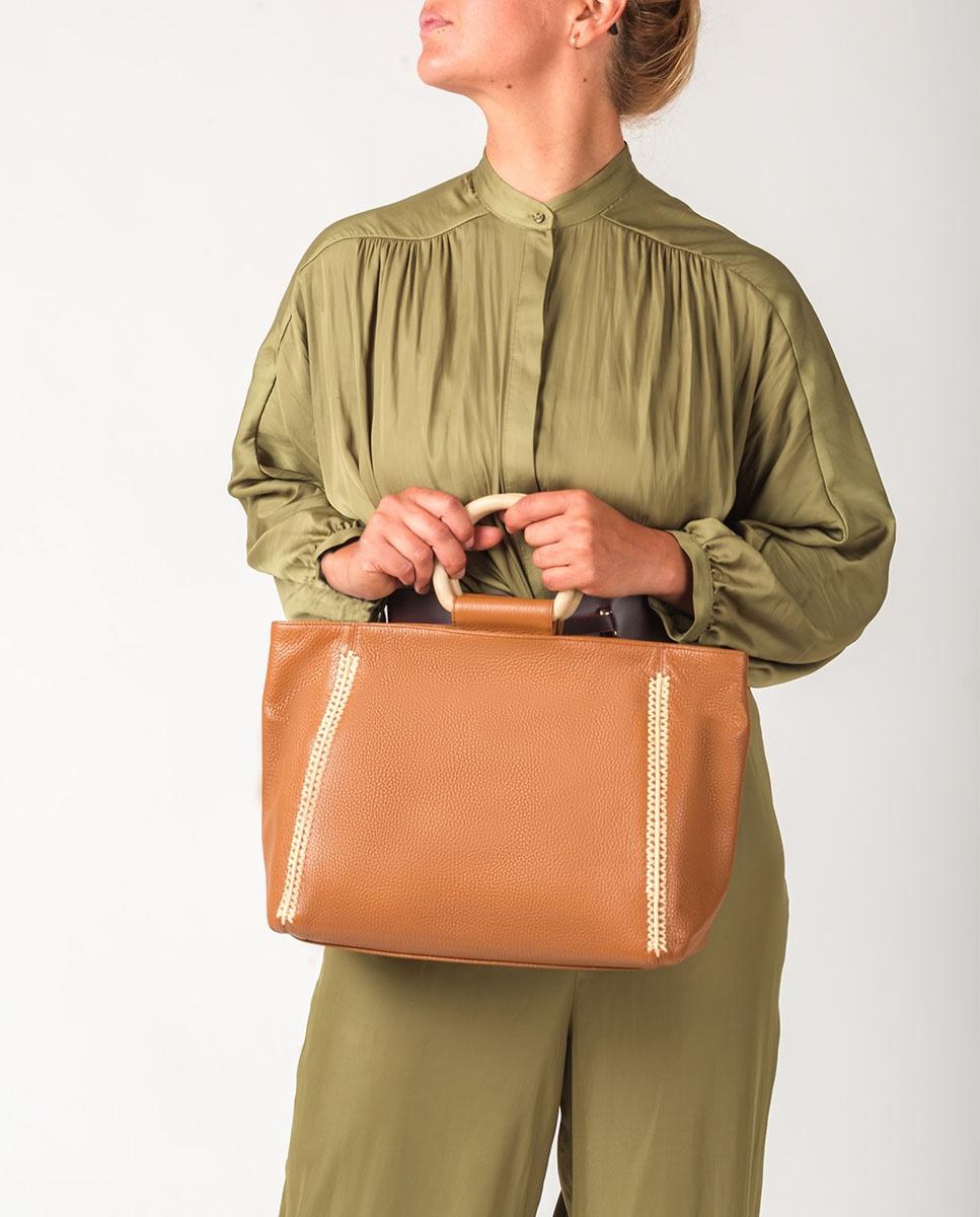 UNISA Shopper aus Leder und Griff in Holzeffekt ZSEYLA_MM bisquit 5