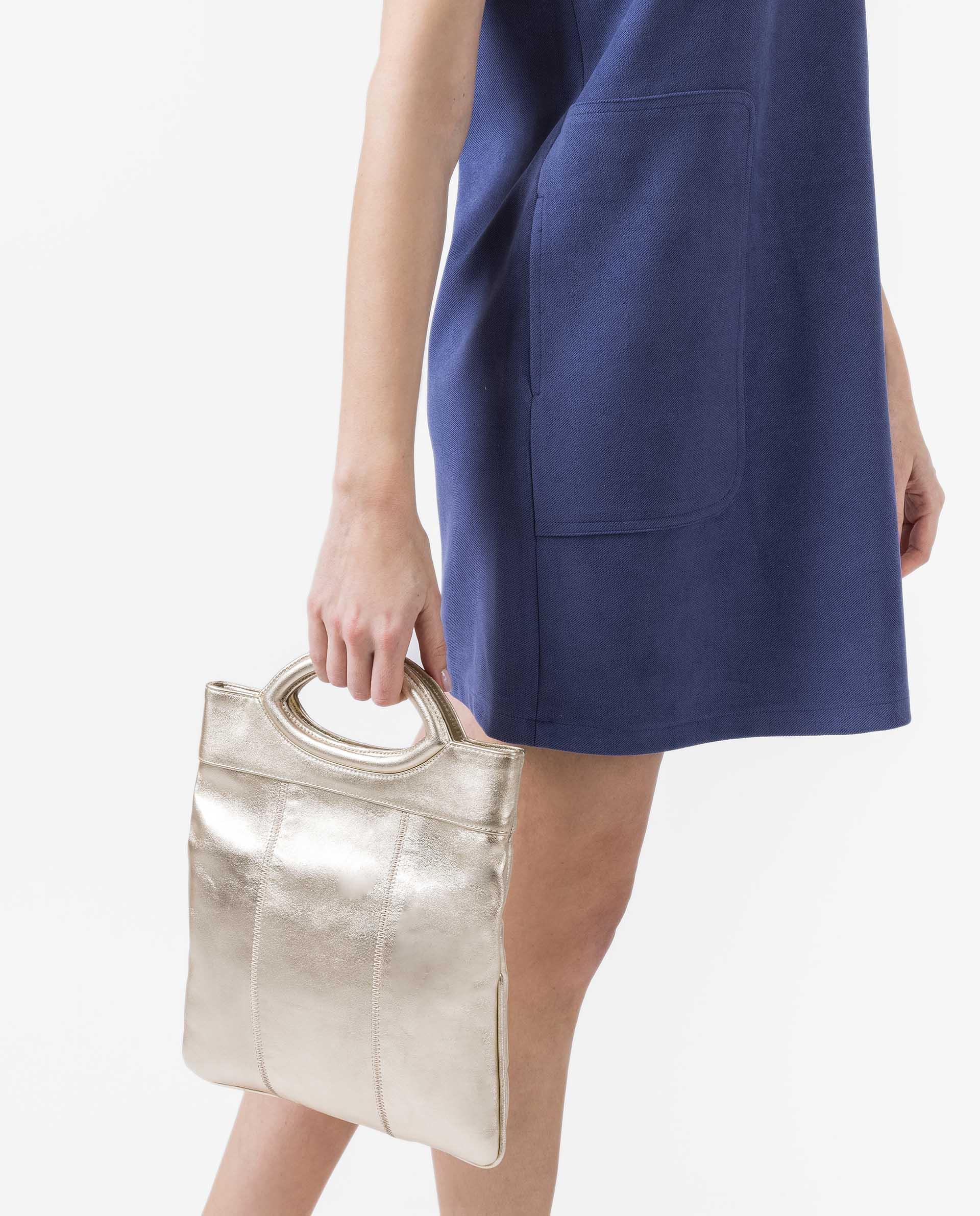 UNISA Tasche aus Metallic-Leder mit doppeltem Umschlag ZGALATE_LMT 5