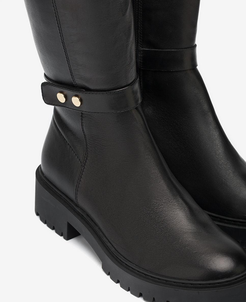 UNISA Schwarze elastische Biker-Stiefel GALVE_VU_STN black 5