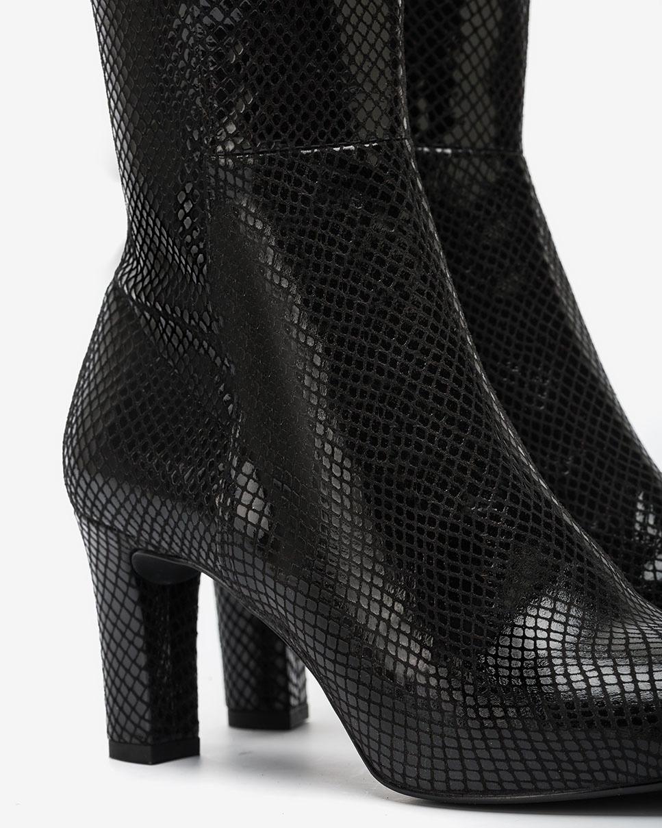 UNISA Schwarze Stiefel in Snake-Print NATALIE_F20_STPY black 5