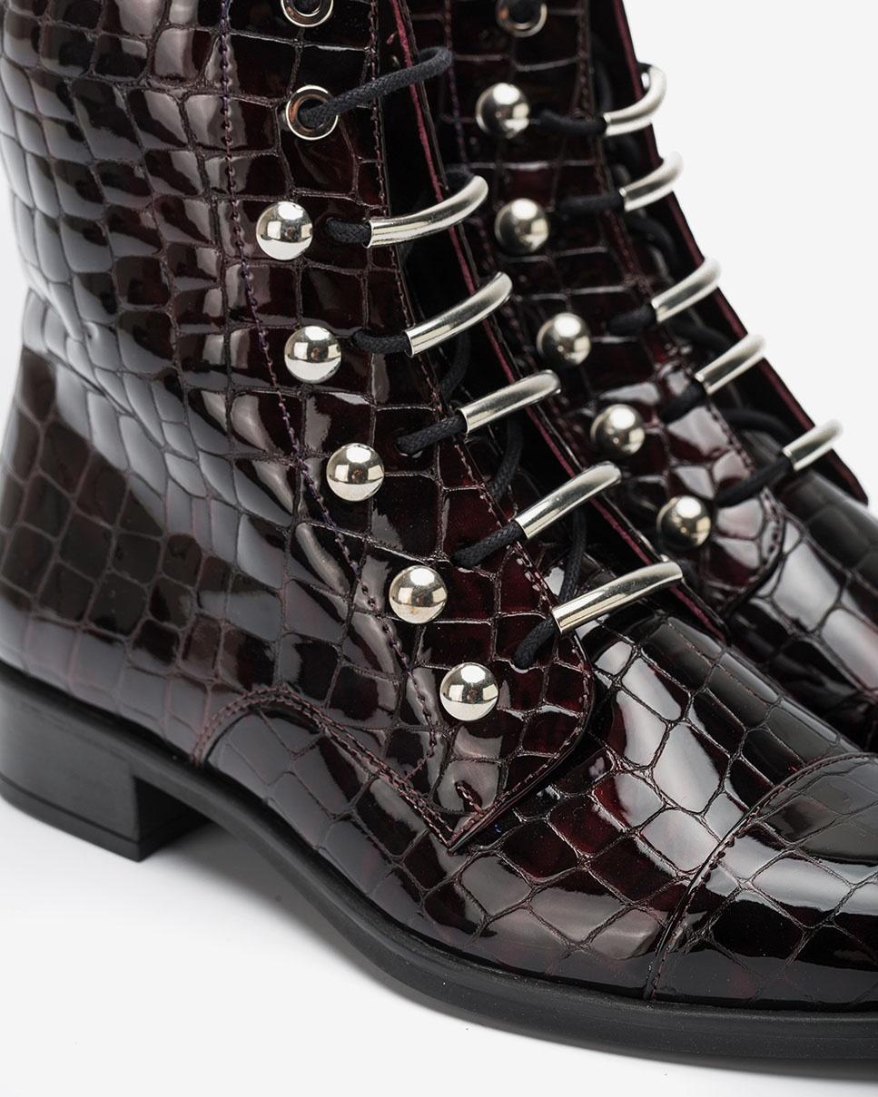 UNISA Bordeauxfarbene Stiefelette mit Schnürbändern BARO_CSH grape 5