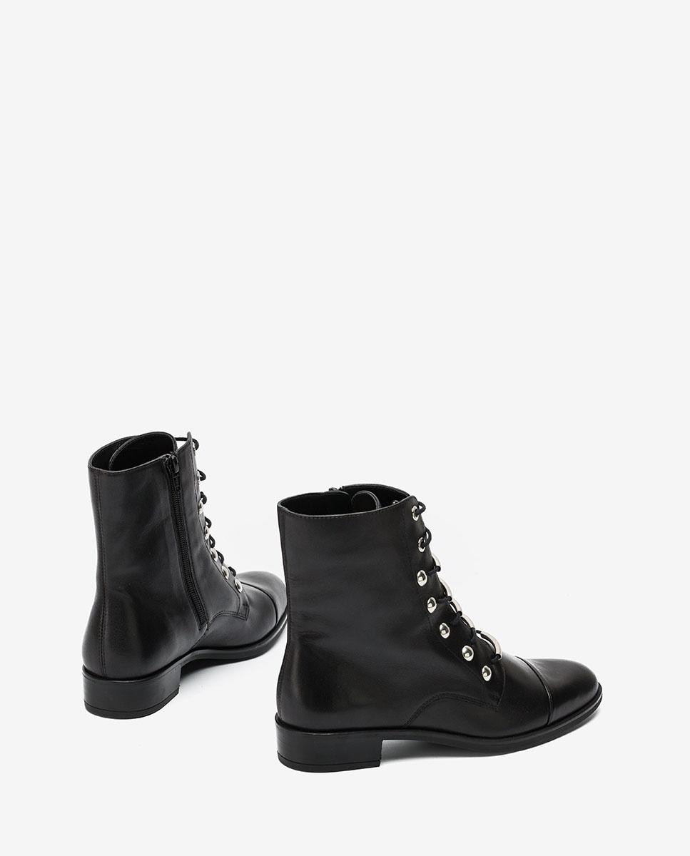UNISA Schwarze Stiefelette mit Schnürbändern BARO_VU black 5