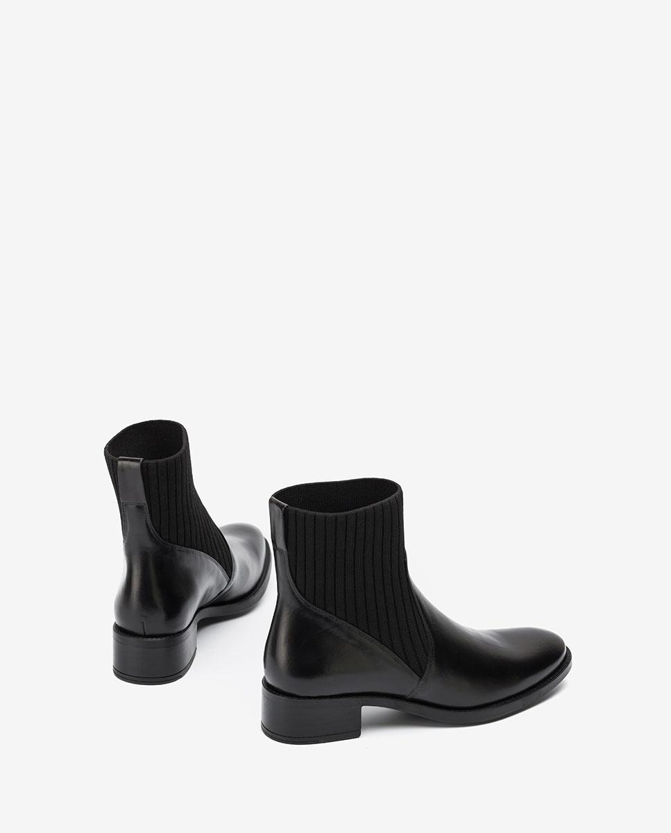 UNISA Schwarze Sock-Boots aus Leder ELLEN_F20_NE black 5