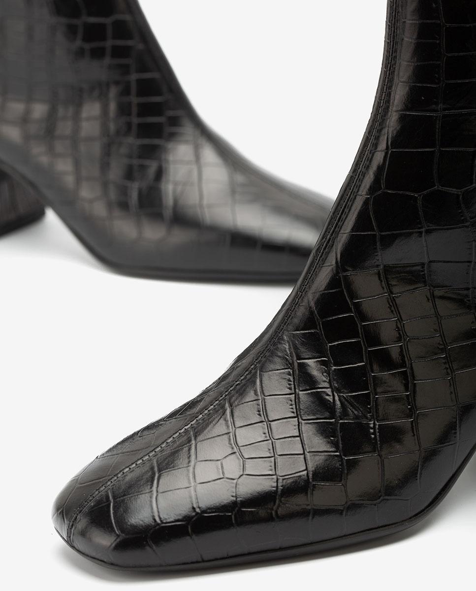 UNISA Schwarze Lederstiefeletten in Kroko-Optik MONCADA_LAU black 5