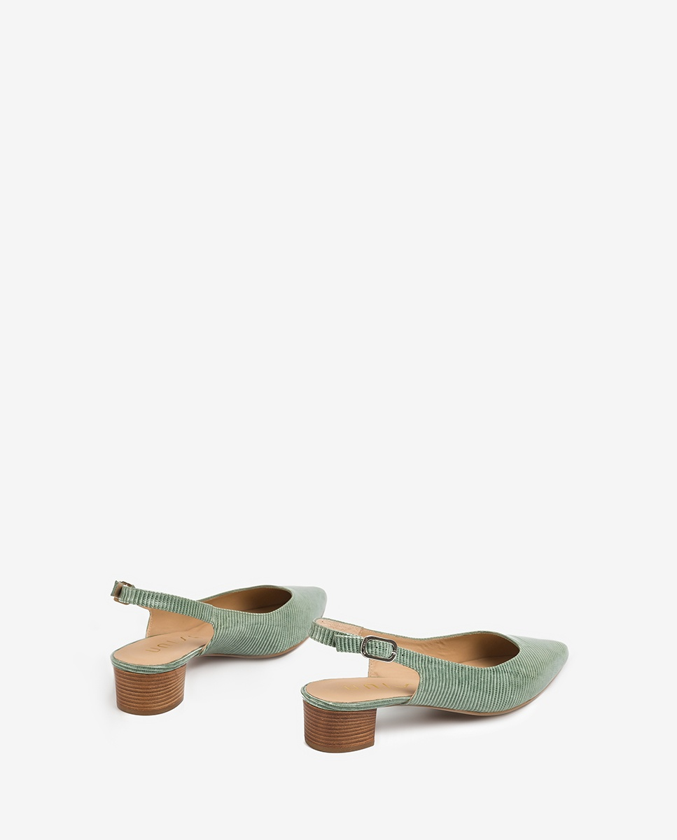 UNISA Slingbacks aus geprägtem Leder mit kleinem Absatz GIJON_LI mint 5