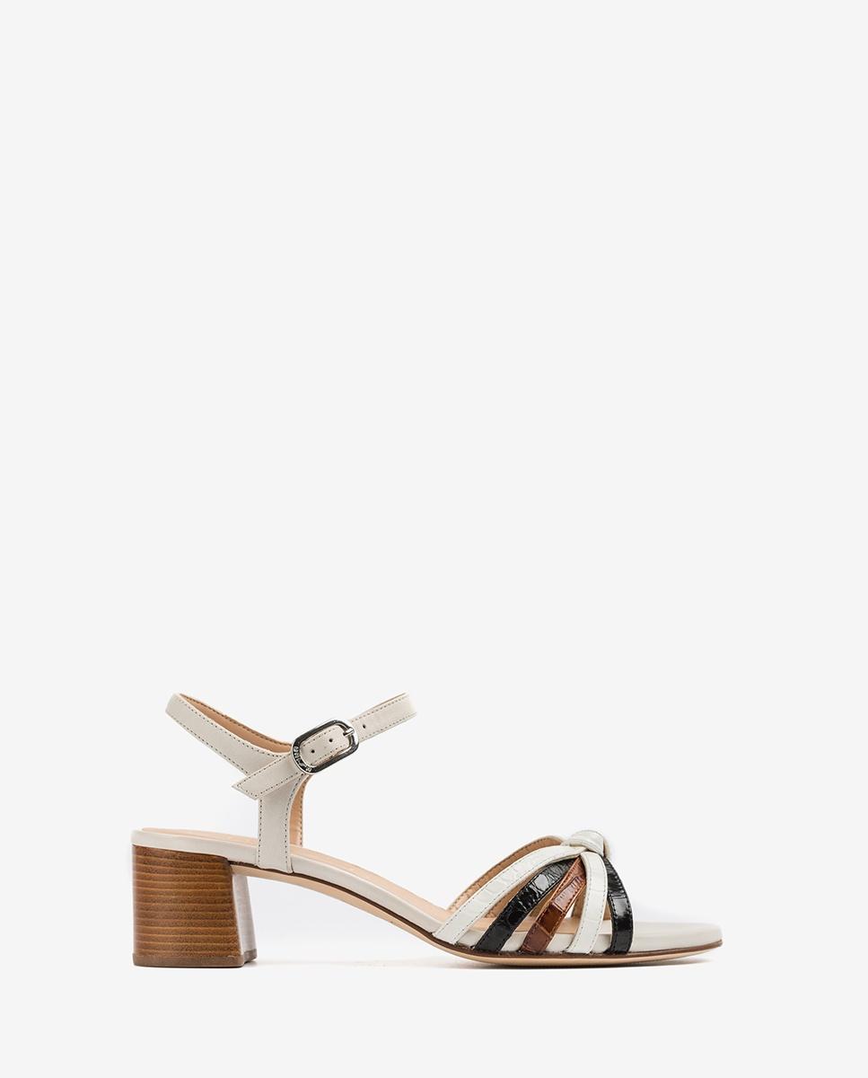 UNISA Sandaletten mit kontrastierenden Bändern in Kroko-Optik GRATA_CRW_KS blk/ivo/sa 5