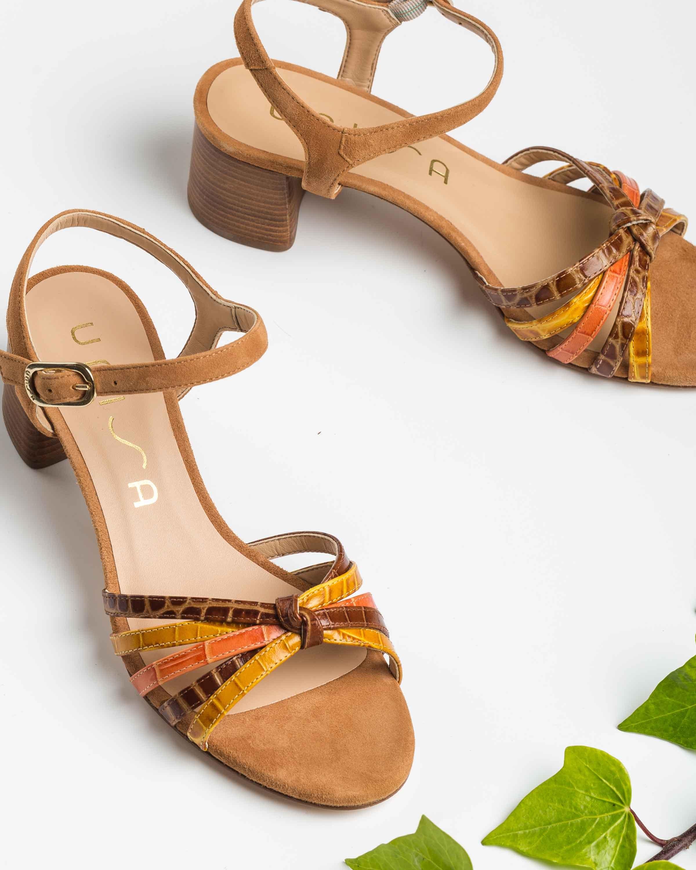UNISA Sandaletten mit kontrastierenden Bändern in Kroko-Optik GRATA_CRW_KS mus/sad/ma 5