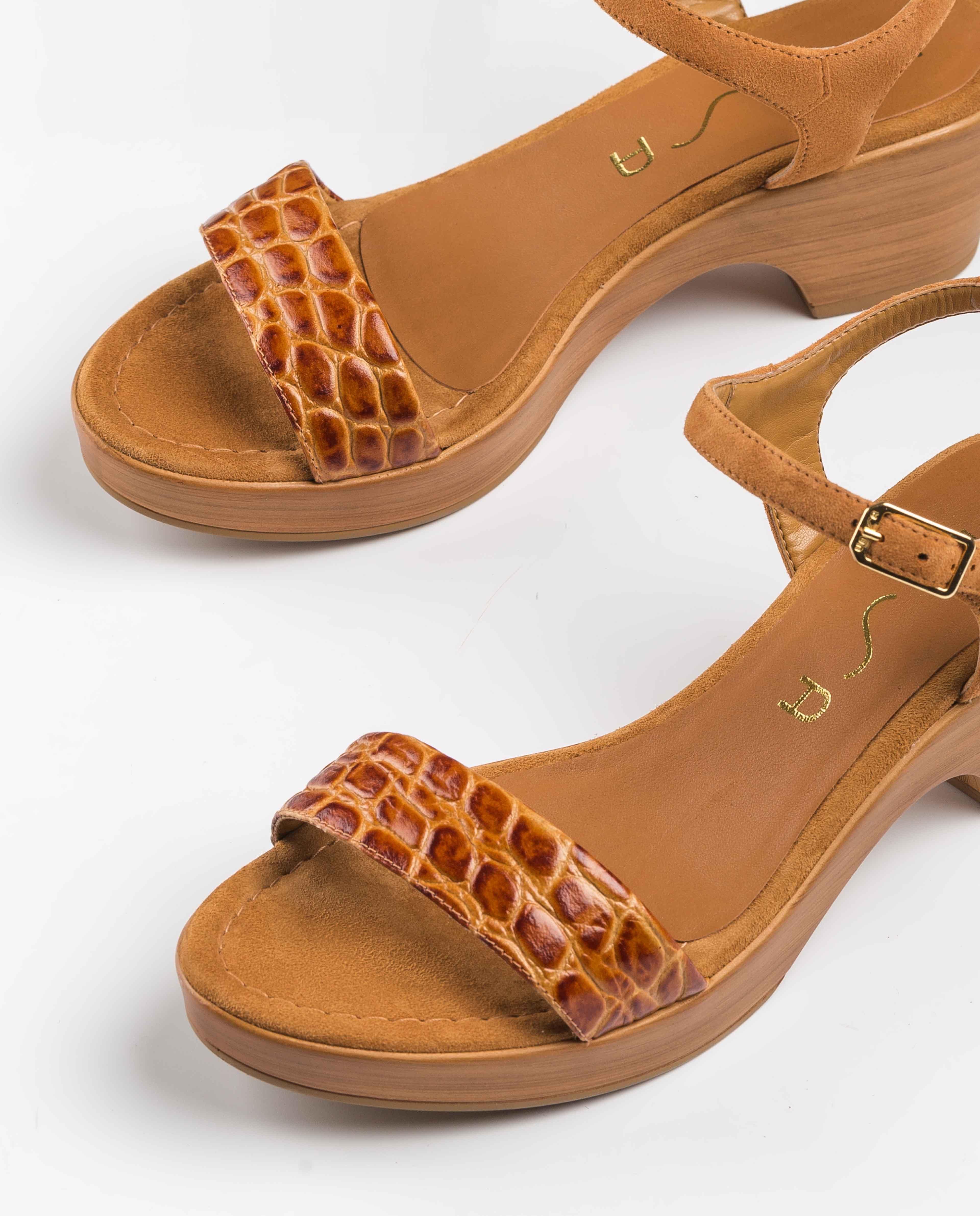 UNISA Block-Sandalen in Kroko-Optik IRITA_20_CRW_KS bisquit 5