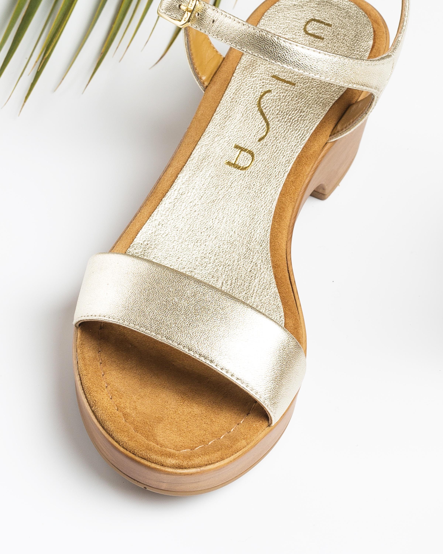 UNISA Block-Sandalen mit Metallic-Effekt IRITA_20_LMT platino 5