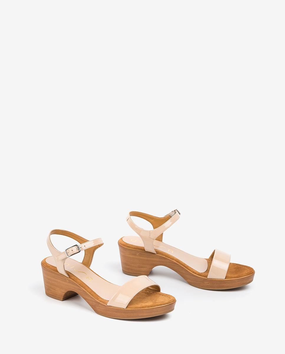 UNISA Block-Sandalen aus Lackleder IRITA_20_PA nude 5