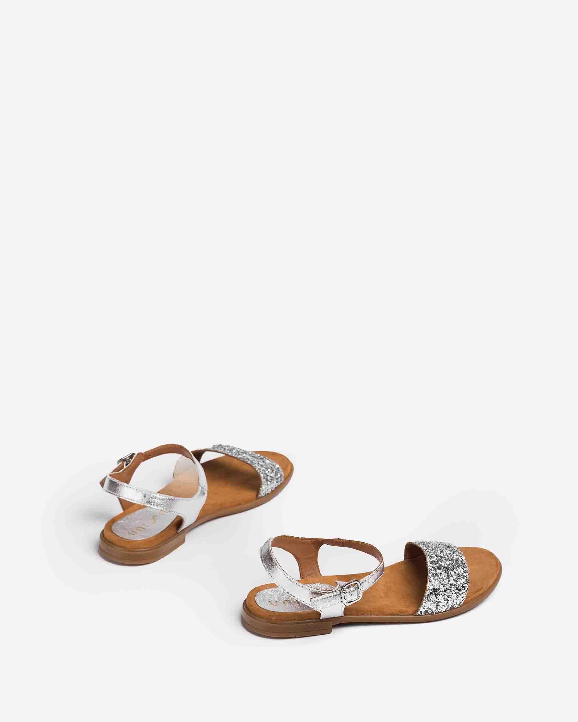 UNISA Metallic-Sandalen mit Kontrasten LIRITA_21_LMT_GL_CAN 5