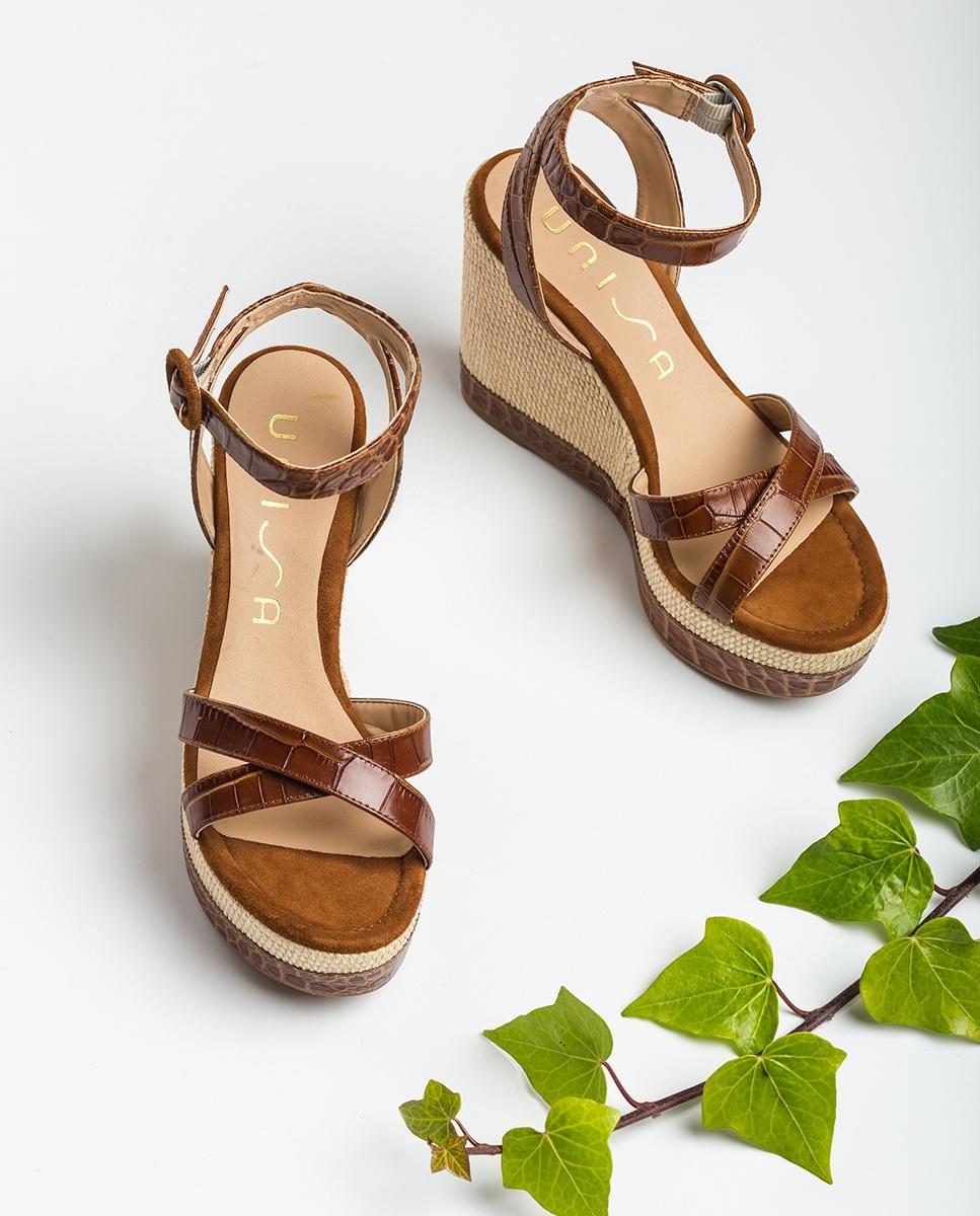 UNISA Wedges-Sandalen mit Kroko-Optik MONTEA_CRW saddle 5