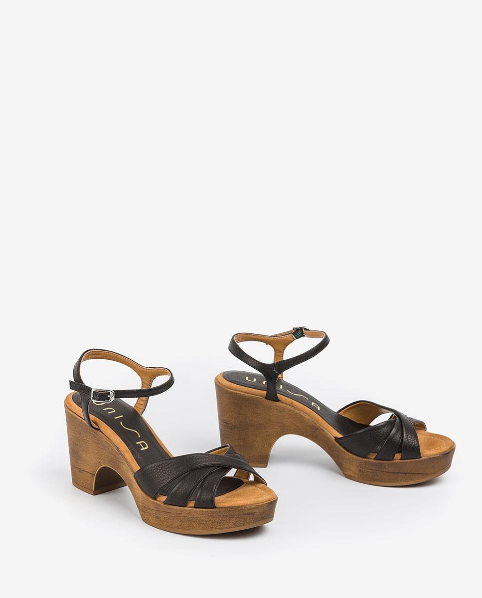 UNISA Block-Sandalen aus Leder ONETA_STY black 5