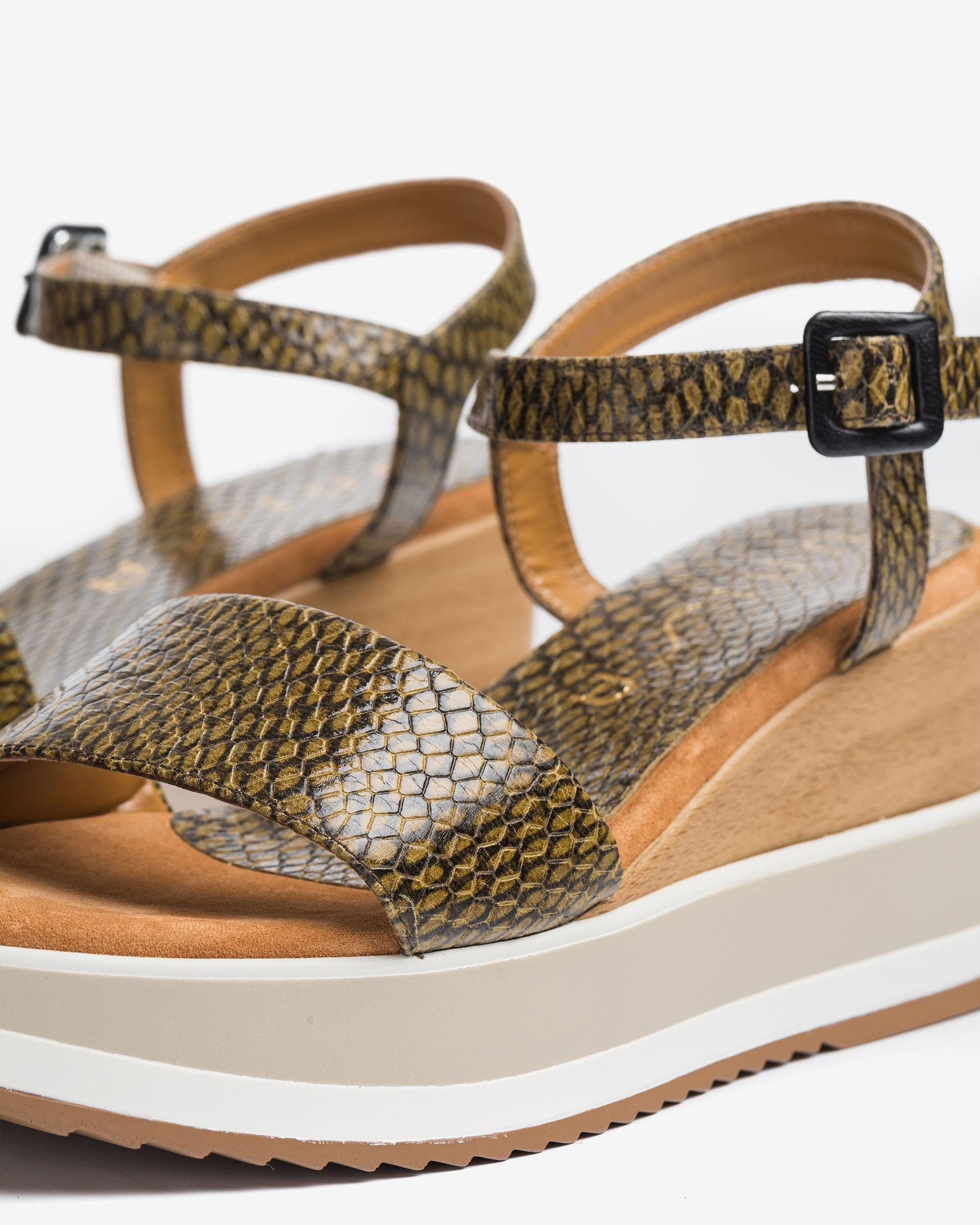 UNISA Wedges aus Leder mit Snake-Print KOLLA_MA 5
