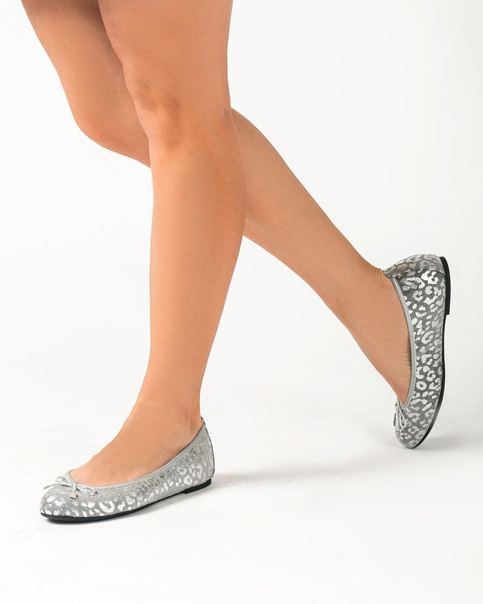 UNISA Silberne Ballerinas mit Leo-Print ACOR_F20_LUX silver 5
