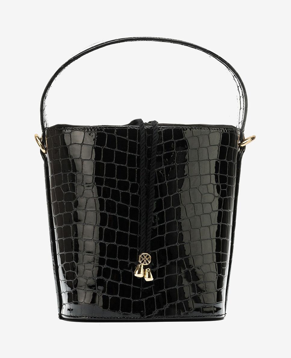 UNISA Handtasche im Korbstil mit Kroko-Optik ZCAP_CSH_ST  black 5