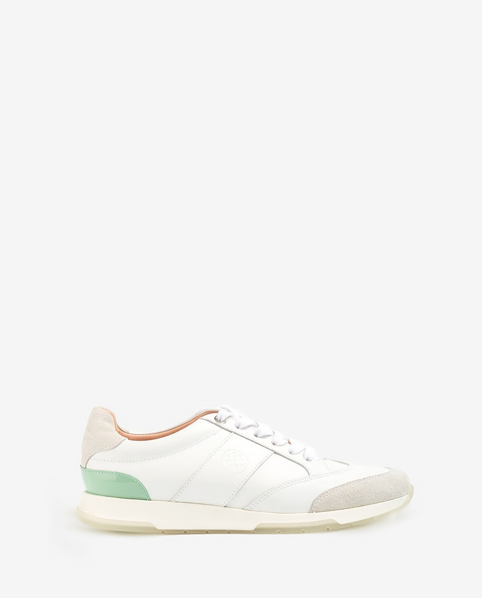 UNISA Ledersneaker mit kontrastfarbigem Monogramm FALCONI_NF_PA white/mint 5
