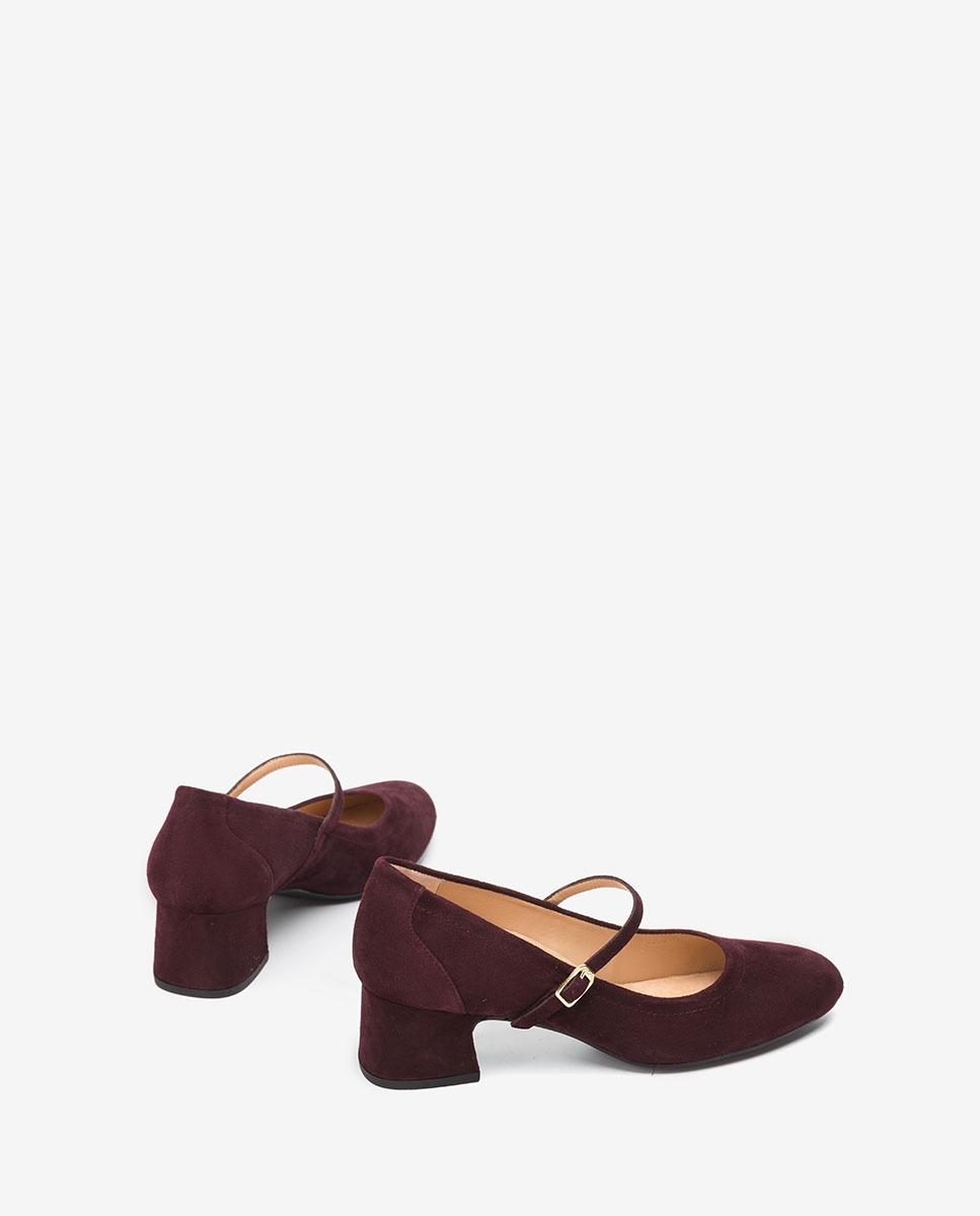 UNISA Bordeauxfarbene Mary Janes aus Wildleder LEAN_KS grape 5