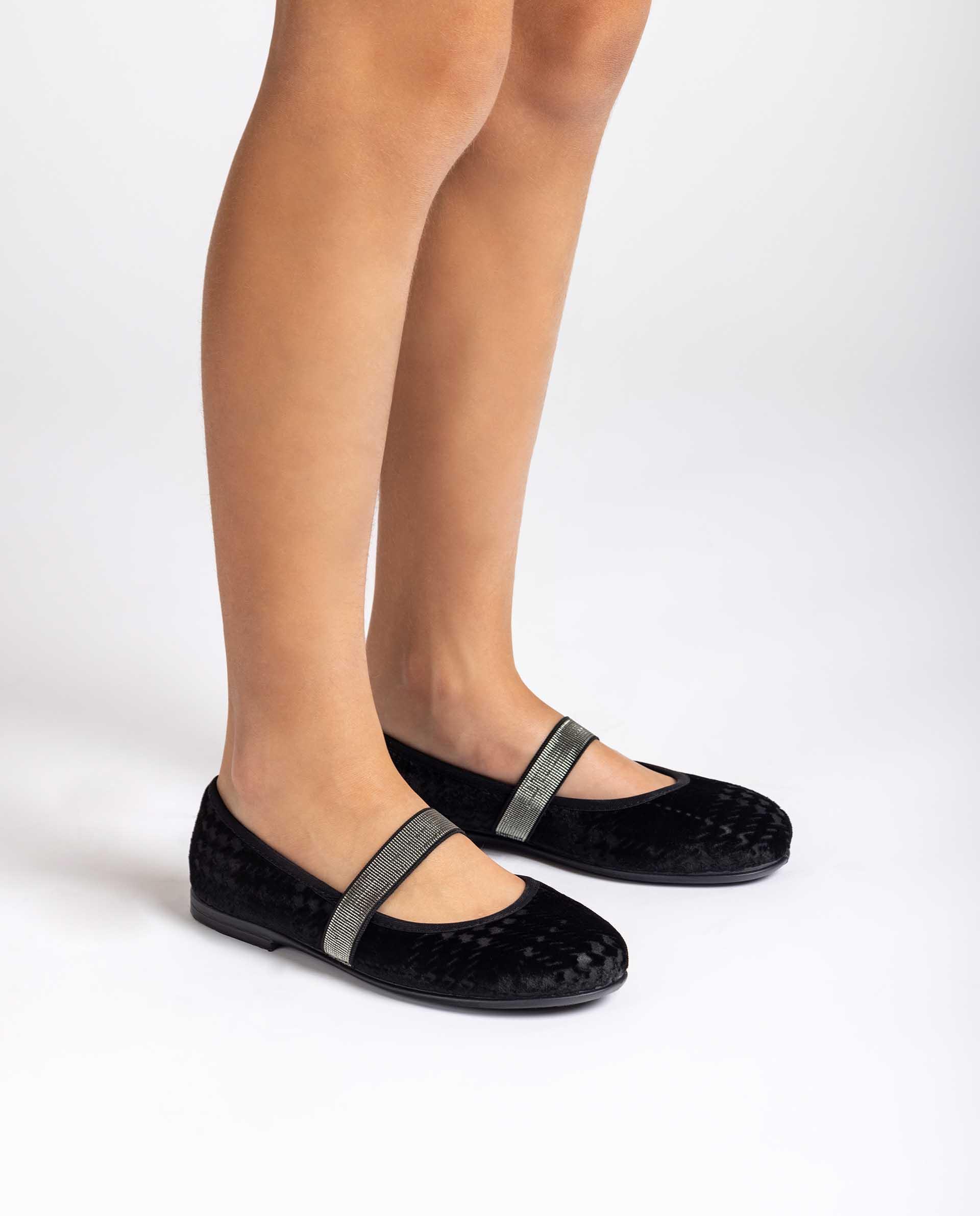 UNISA Samt-Ballerinas mit gekreuzten Elastikbändern SOLETE_GMT 5