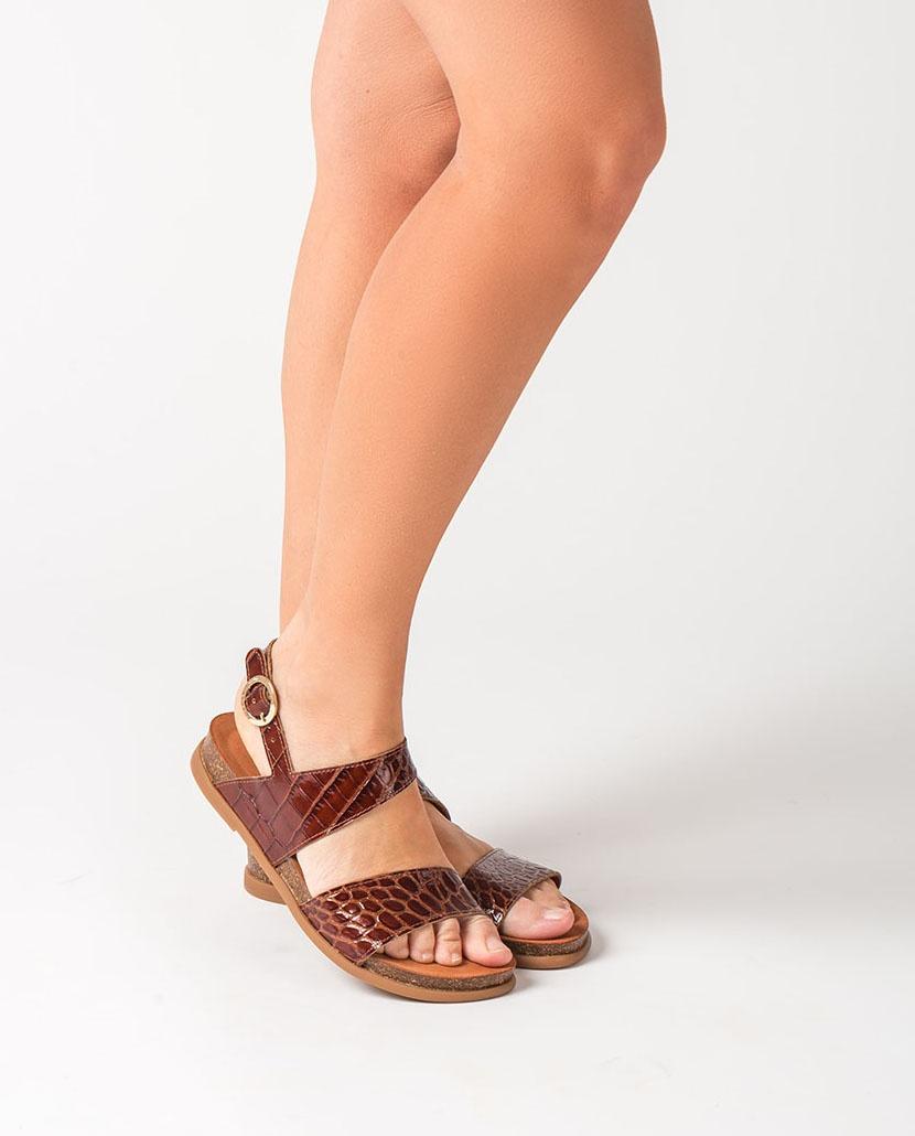 UNISA Flache Sandalen in Kroko-Optik CANOVAS_CRW saddle 5