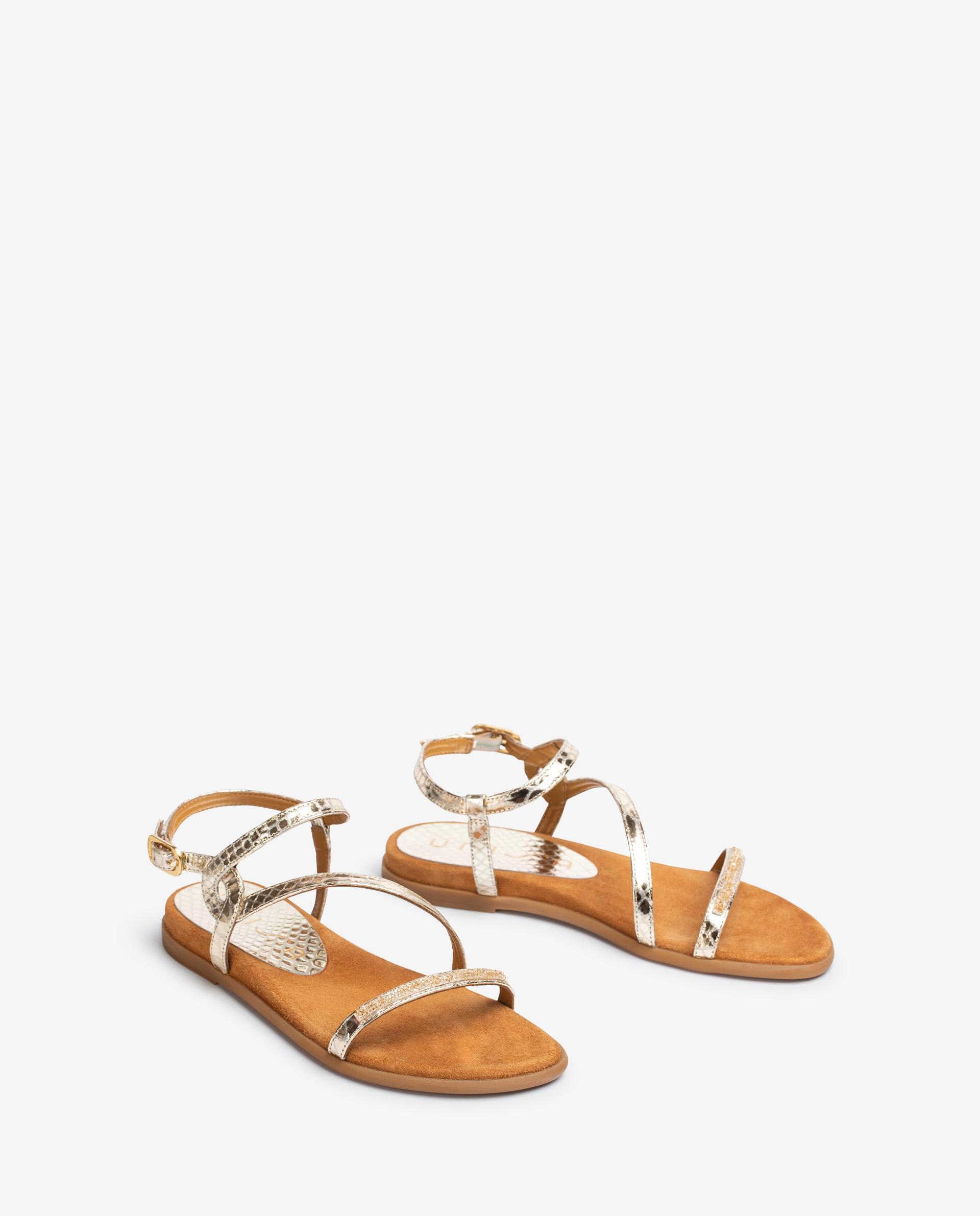 UNISA Sandalen aus Metallic-Leder mit Strass CLARIS_21_SNM 5