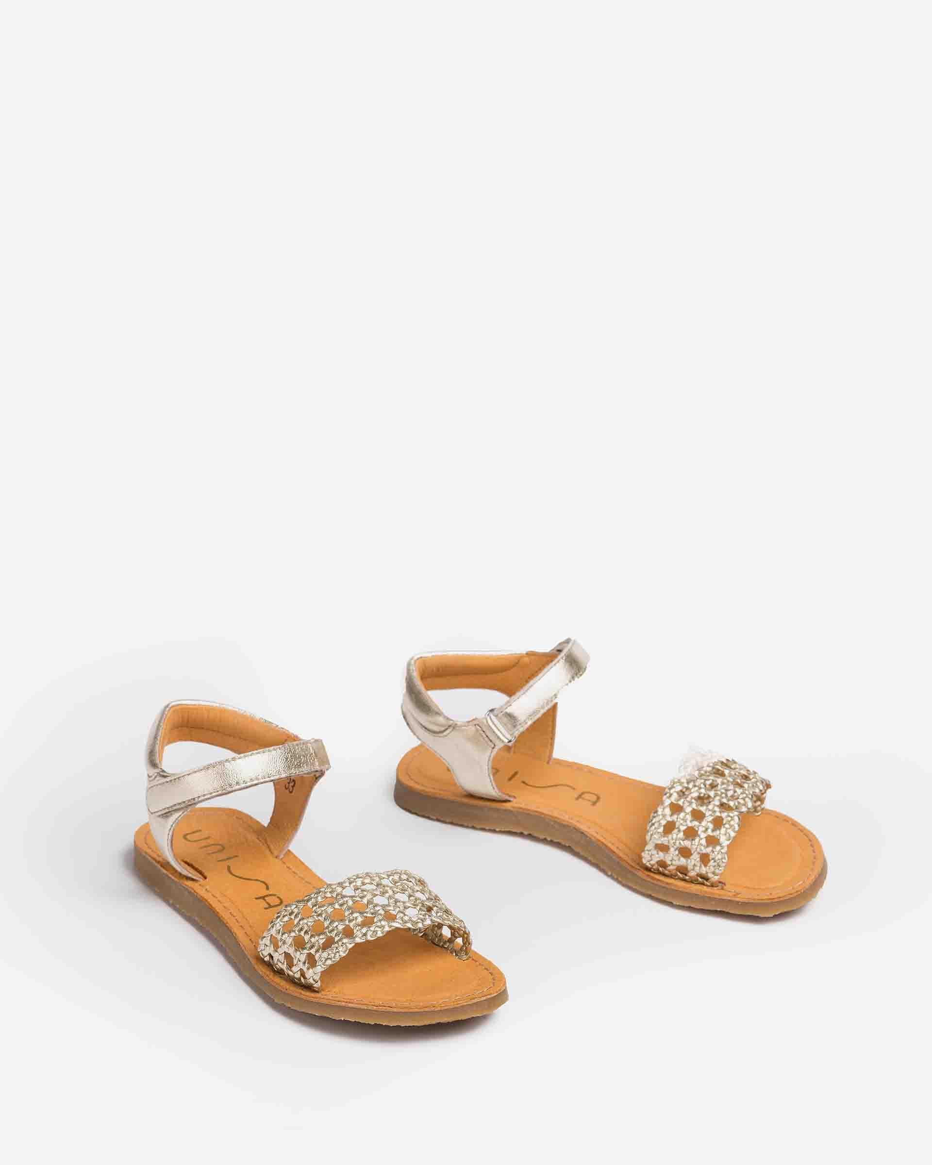 UNISA Flechtsandalen aus Metallic-Leder für Mädchen GREMY_LMT 5