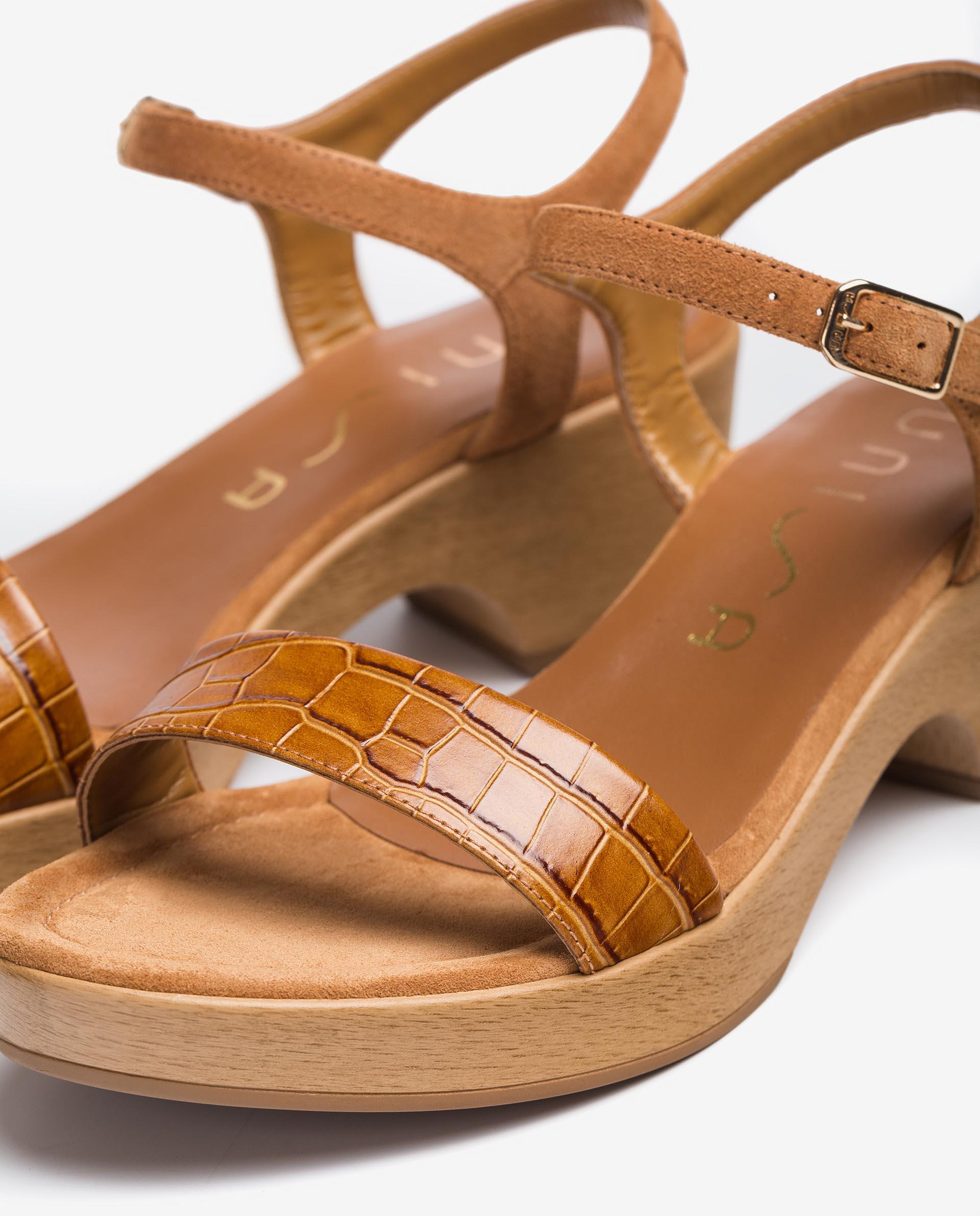 UNISA Sandalen in Kroko-Optik mit Blockabsatz IRITA_21_LAU_KS 5