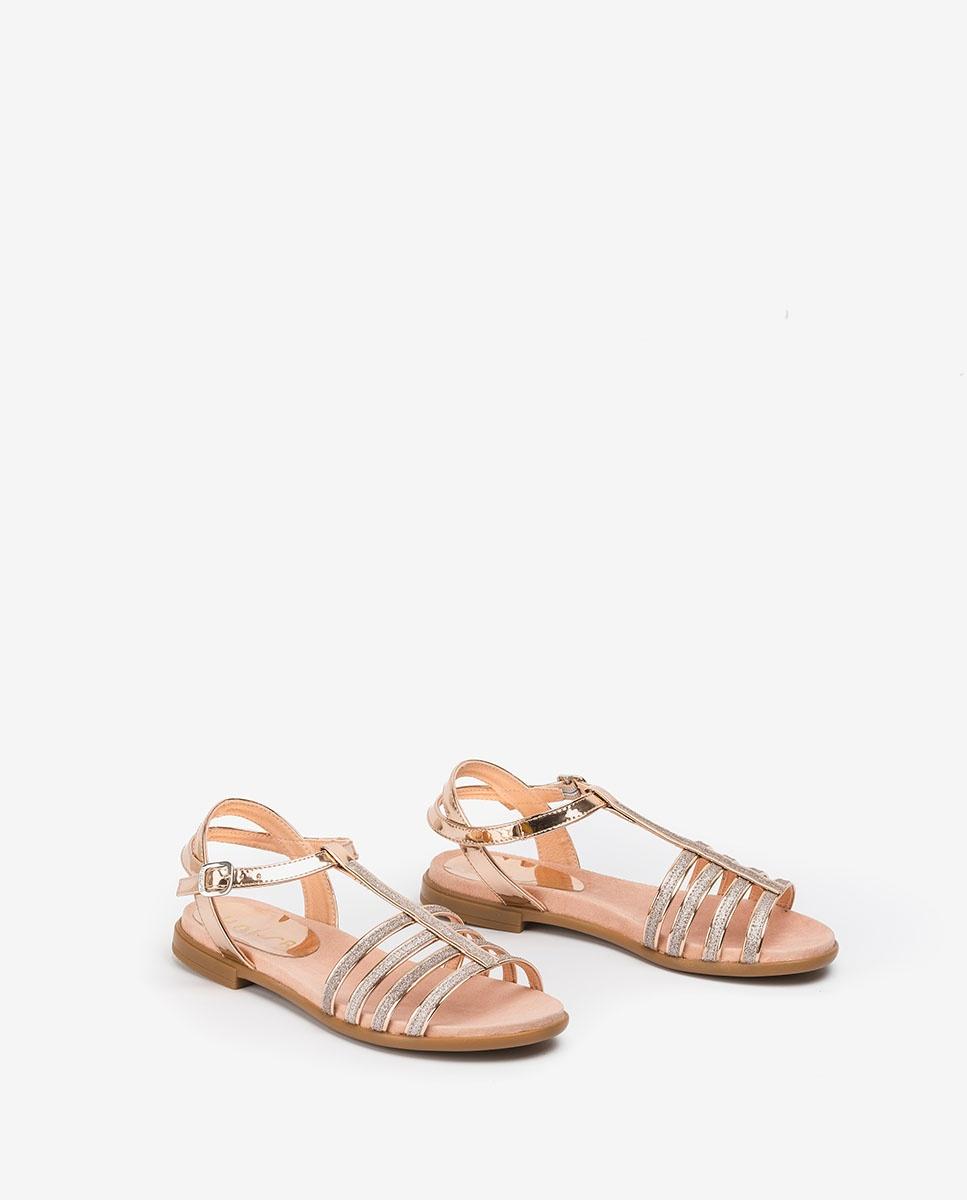 UNISA Silberne Mädchensandalen mit Riemchen LOTRE_20_SP ballet 5