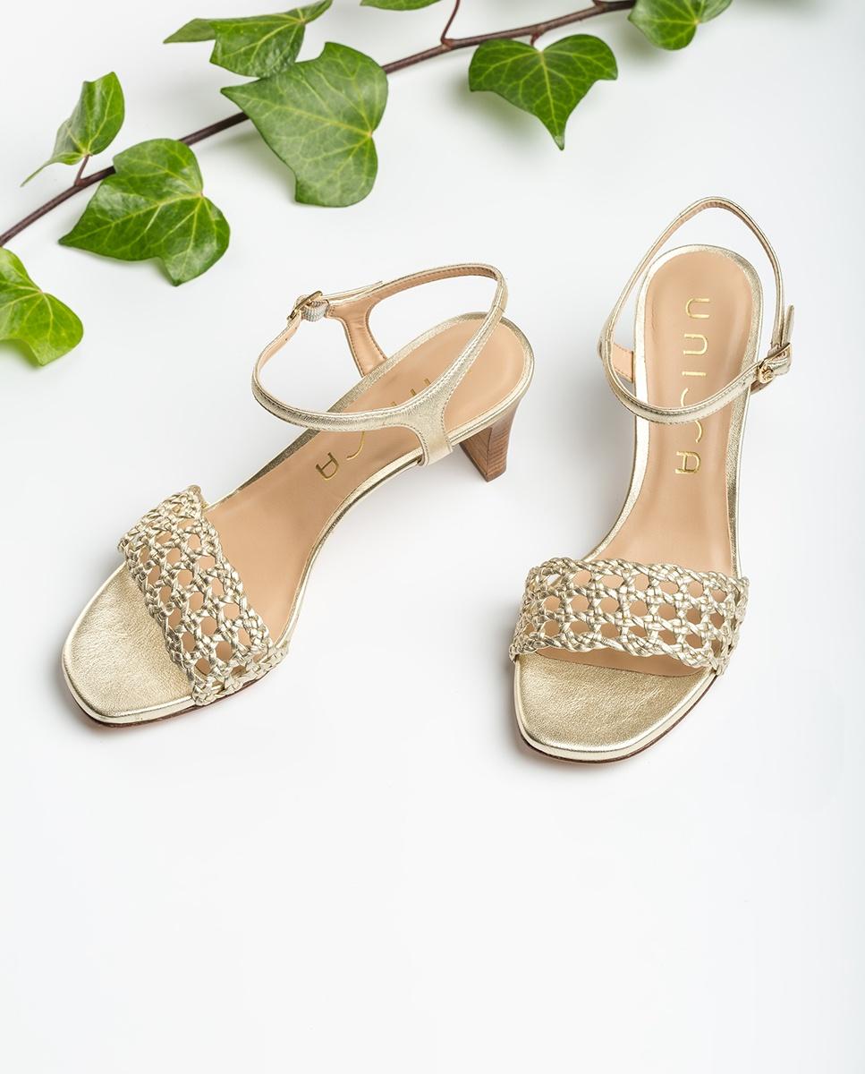 UNISA Sandaletten im Makramee-Stil mit Metallic-Effekt MAXWEL_LMT platino 5