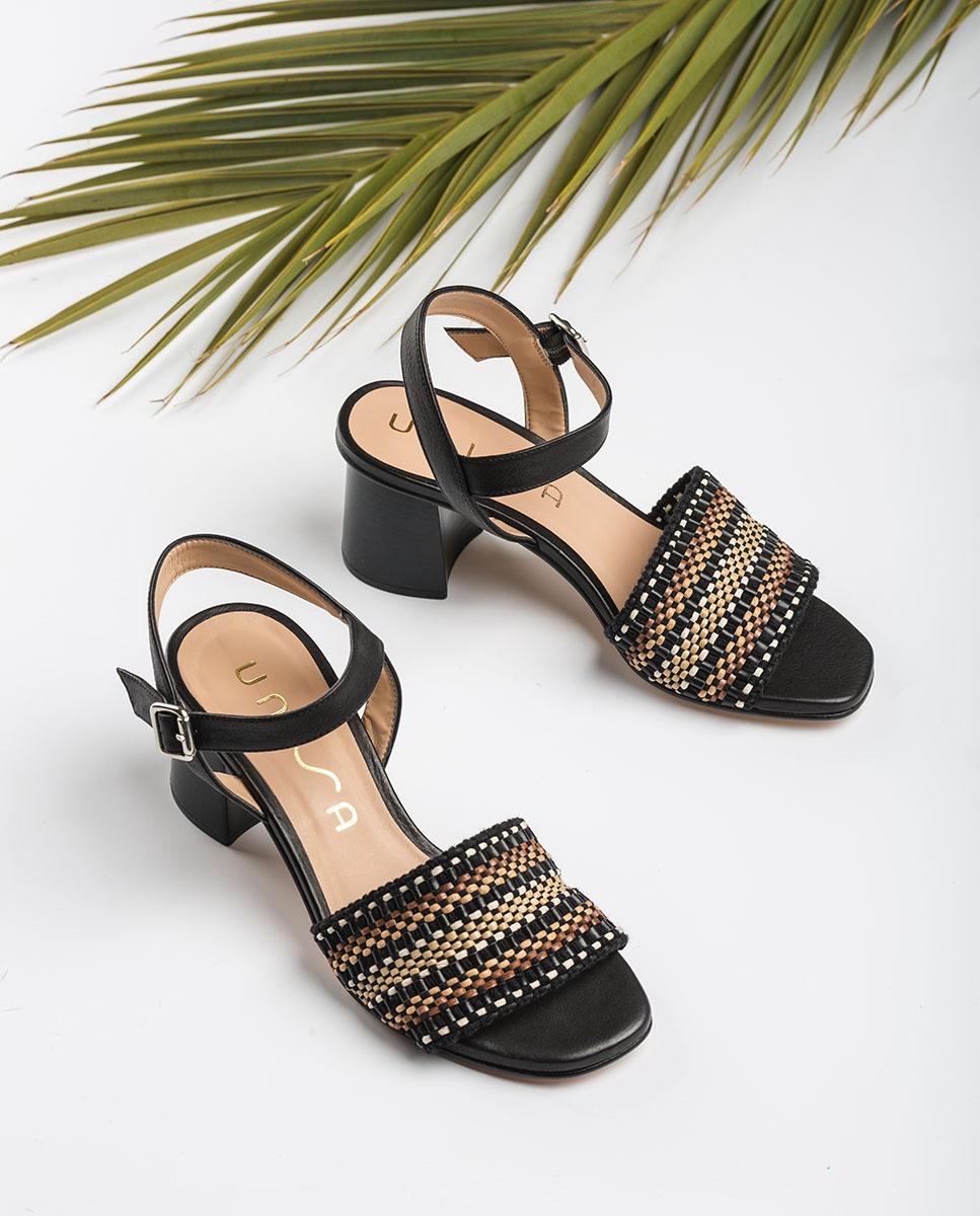 UNISA Heel-Sandaletten mit geflochtenem Oberleder MOLLA_STY black 5