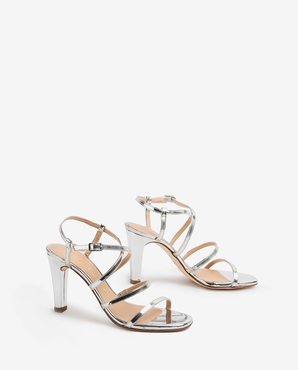UNISA Sandaletten mit Absatz und silbernen Bändern SIMO_20_SP silver 5