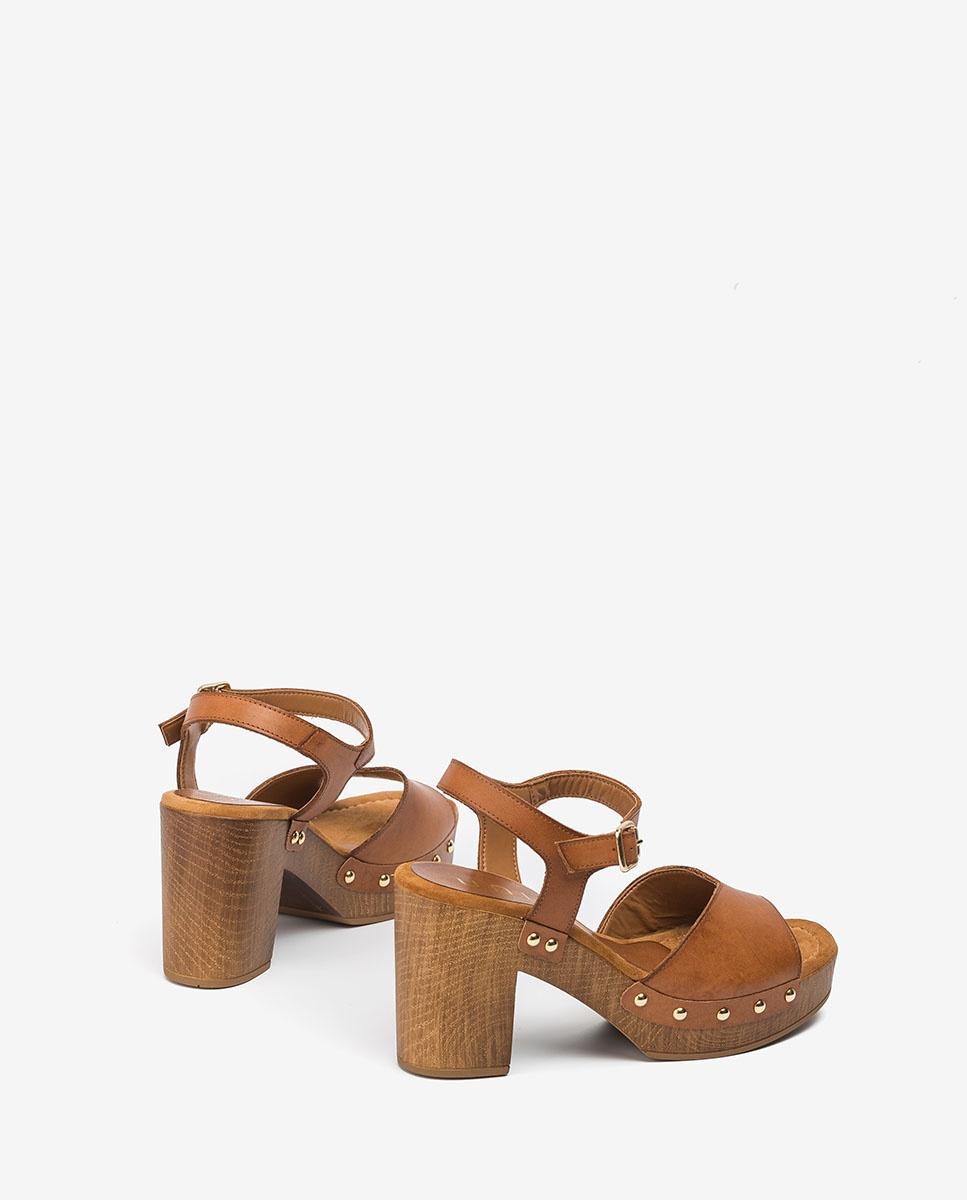 UNISA Block-Sandalen mit Nieten TACO_RAN bisquit 5