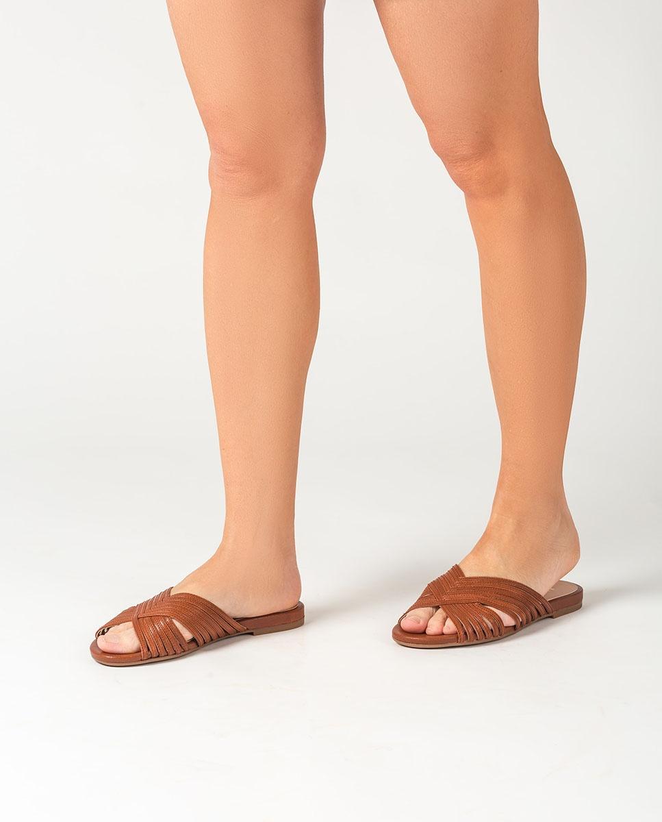 UNISA Pantoletten mit kontrastierenden verkreuzten Riemen CENOTE_GCR saddle 5