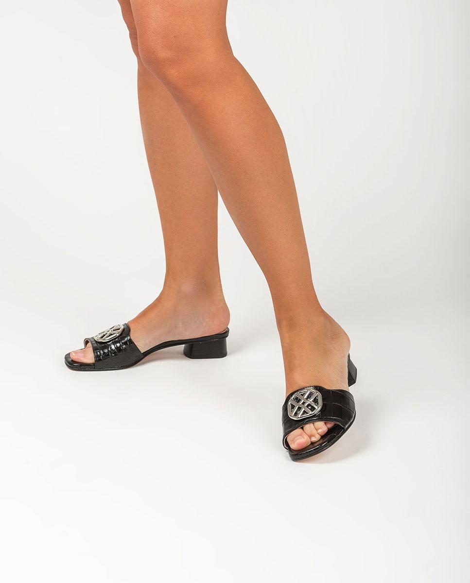 UNISA Lederpantolette in Kroko-Optik mit Monogramm DAVE_CRW black 5