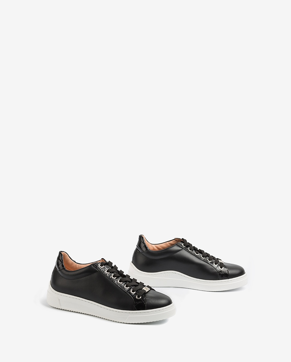 UNISA Croc effect leather contrast sneakers FRANCI_20_NF_CRW black 2