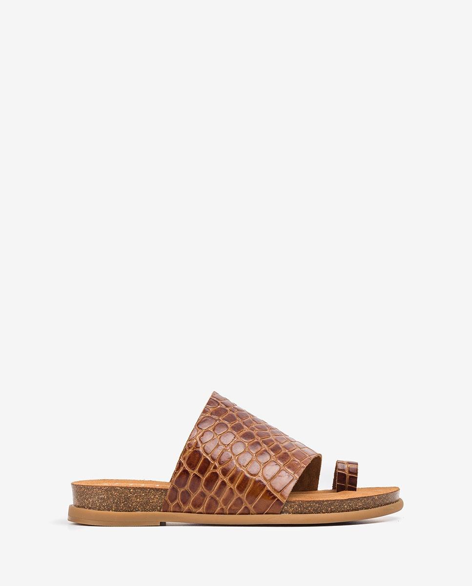 UNISA Esclava croco marrón CALESIN_CRW saddle