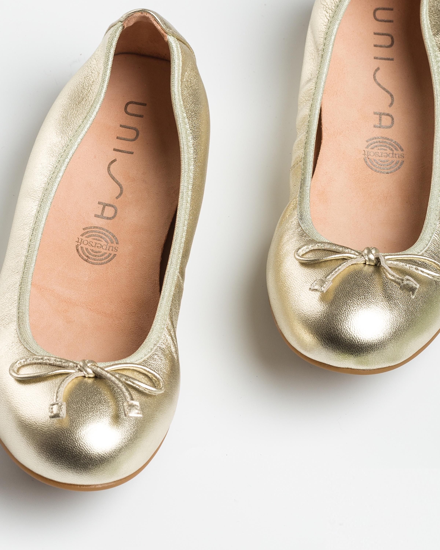 UNISA Light gold bow ballerinas ACOR_20_LMT platino 2