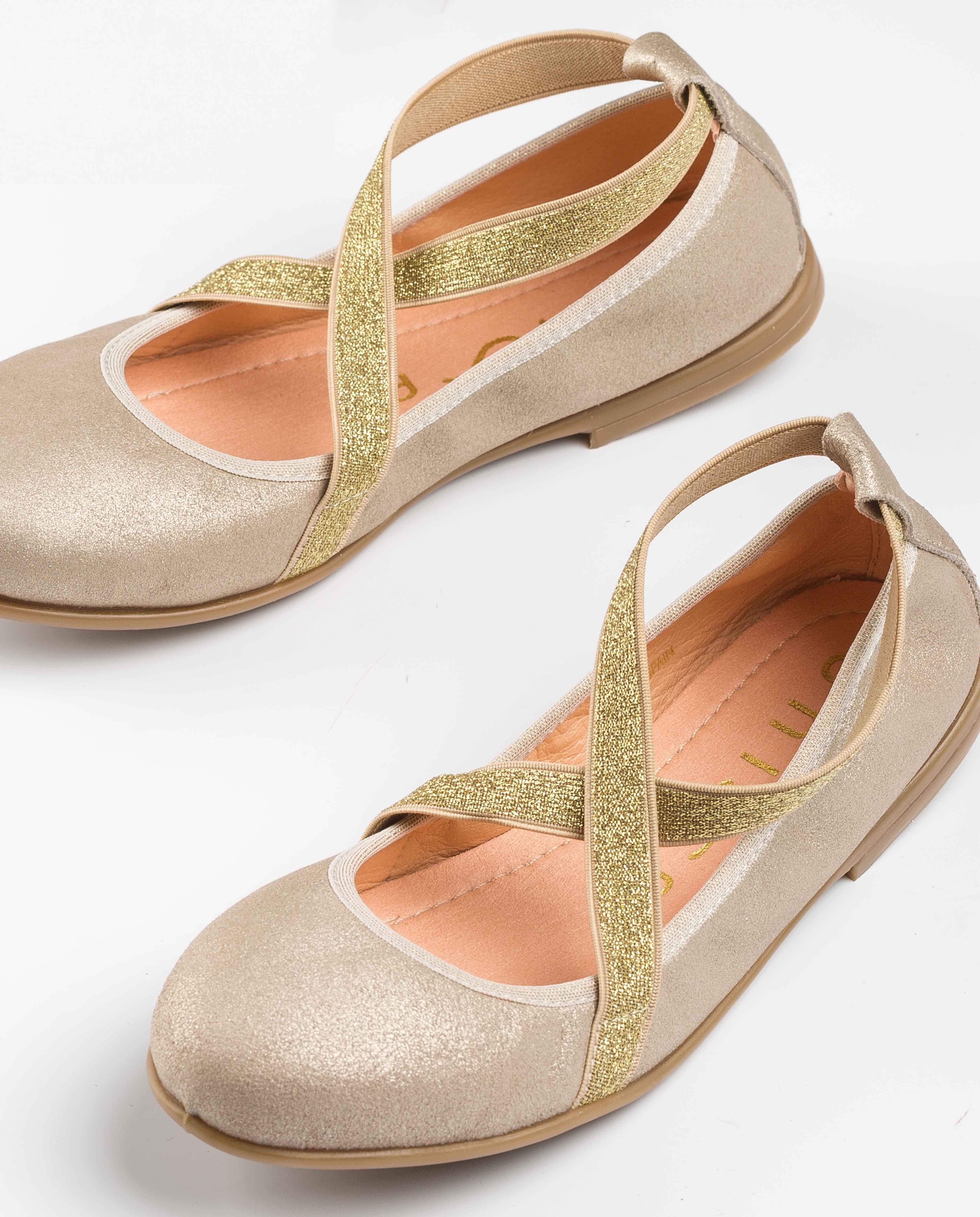 UNISA Little girl golden ballerinas SILVIO_MTS platino 2