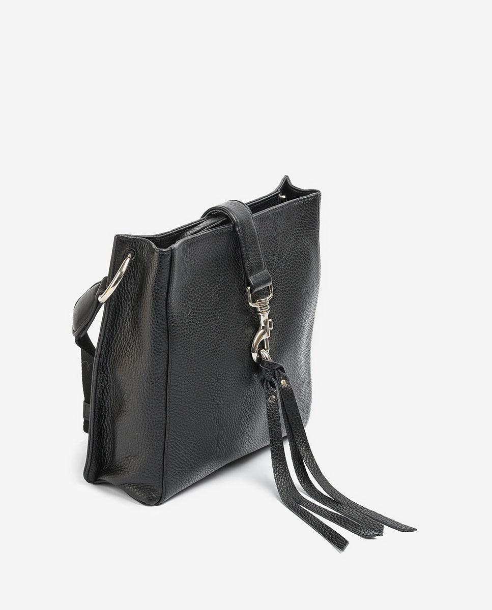 UNISA Black leather shoulder bag carabiner ZMOLAS_MM black 2