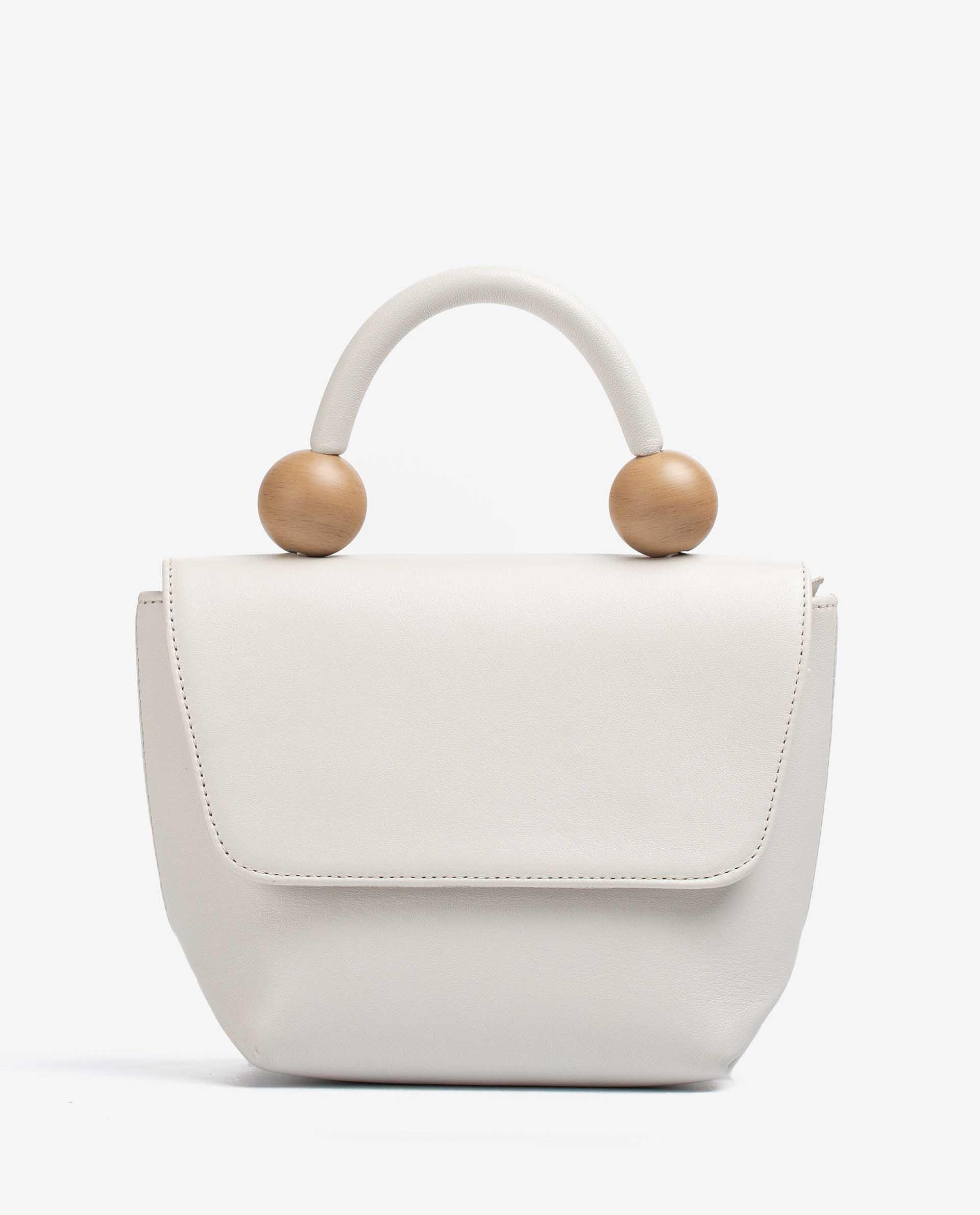 UNISA Leather handbag with wood effect ornament ZGILES_NT 2