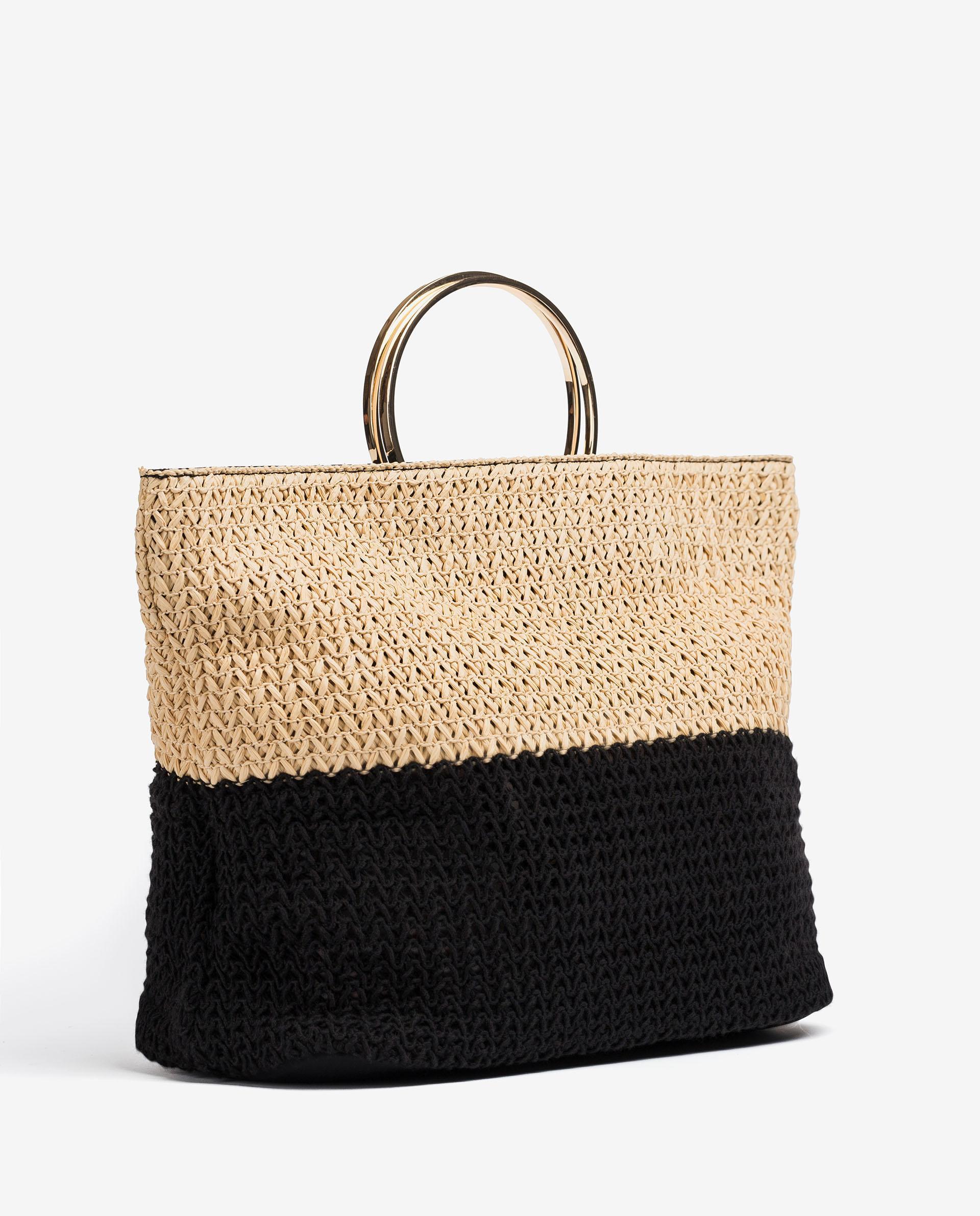 UNISA Raffia handbag with double handle ZJENUS_RNI 2