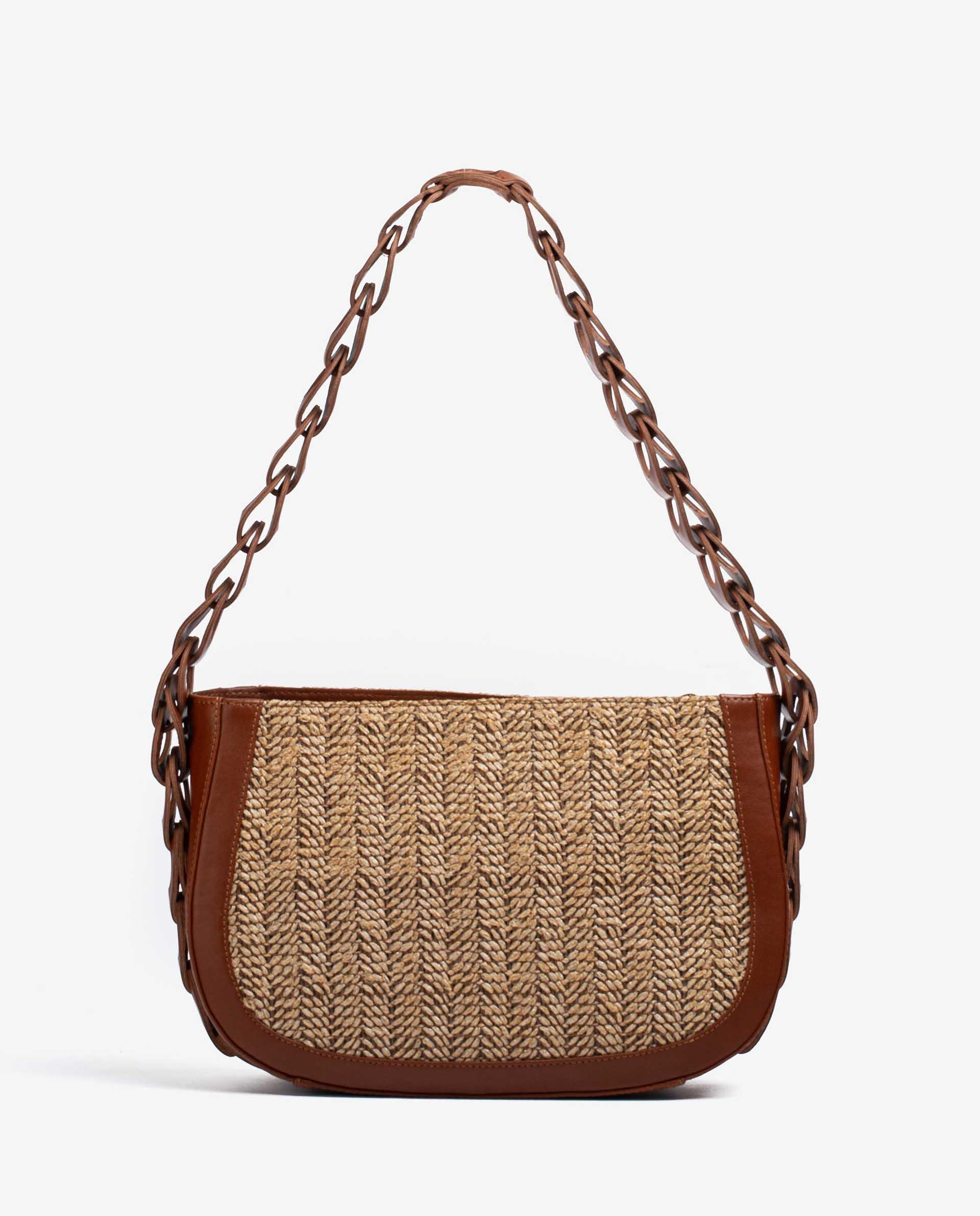 UNISA Leather and raffia bag with braided shoulder strap ZLYRIS_VU_RES 2