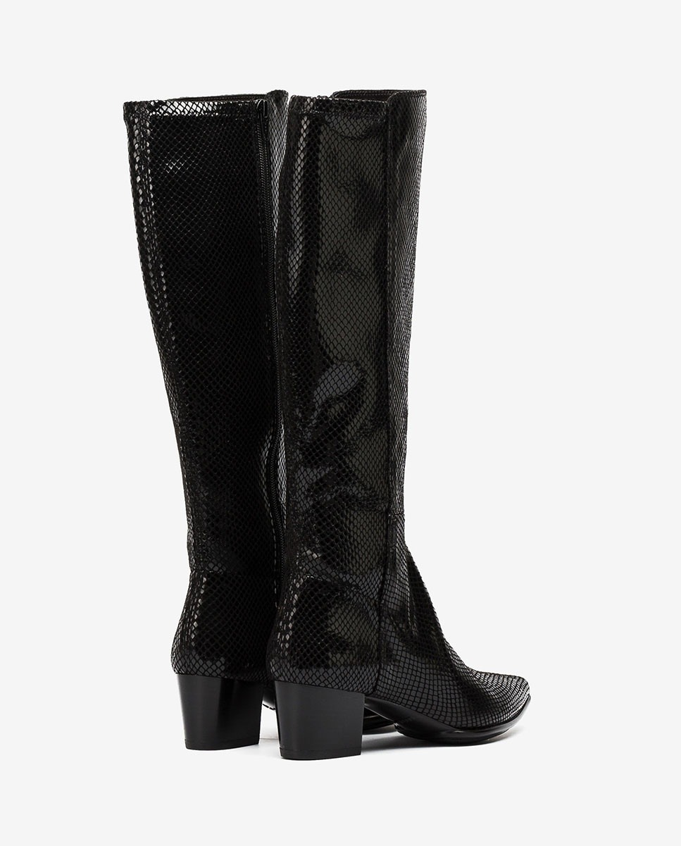 UNISA Black snake effect elastic boots JOEL_F20_STPY black 2