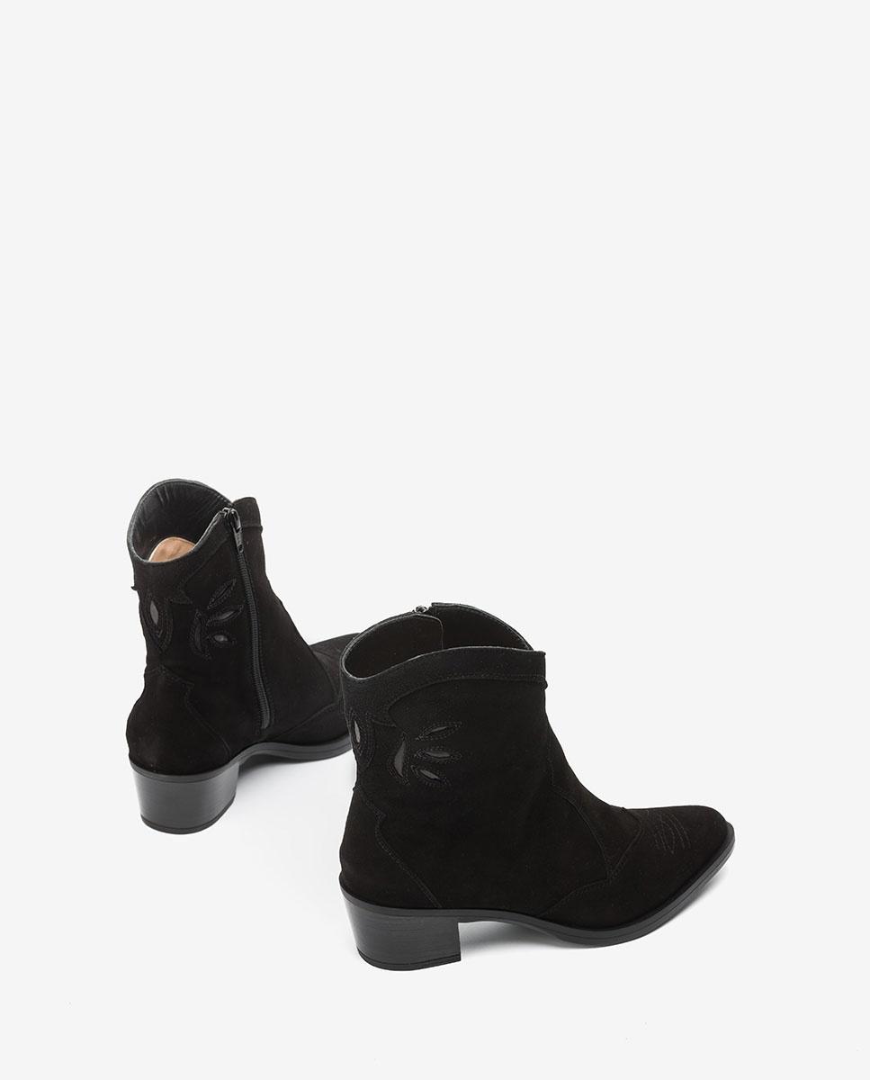 UNISA Kid suede cowboy ankle boots GACELA_BS black 2