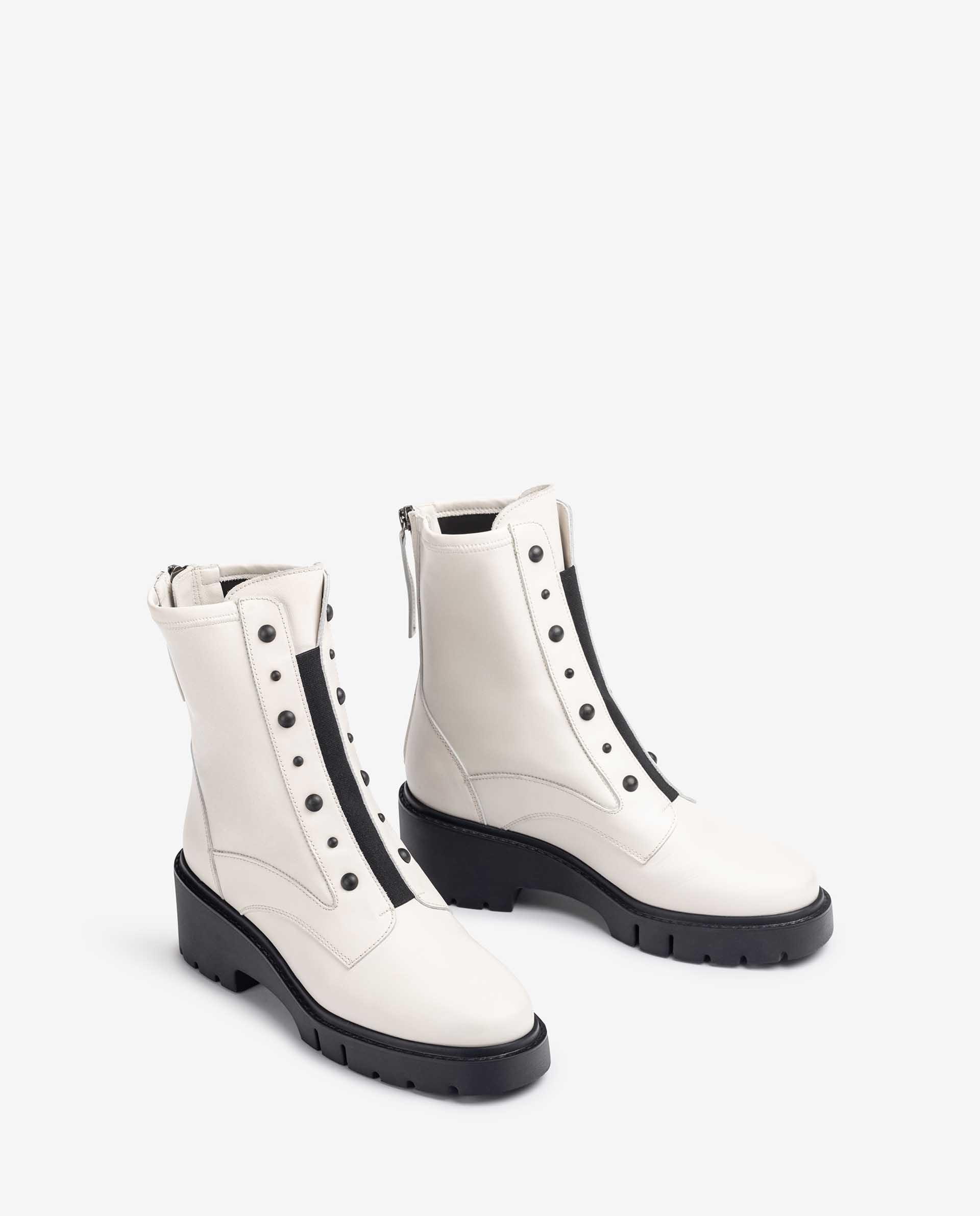 UNISA Biker style leather ankle boots with back zip JARBE_NF_STN 2