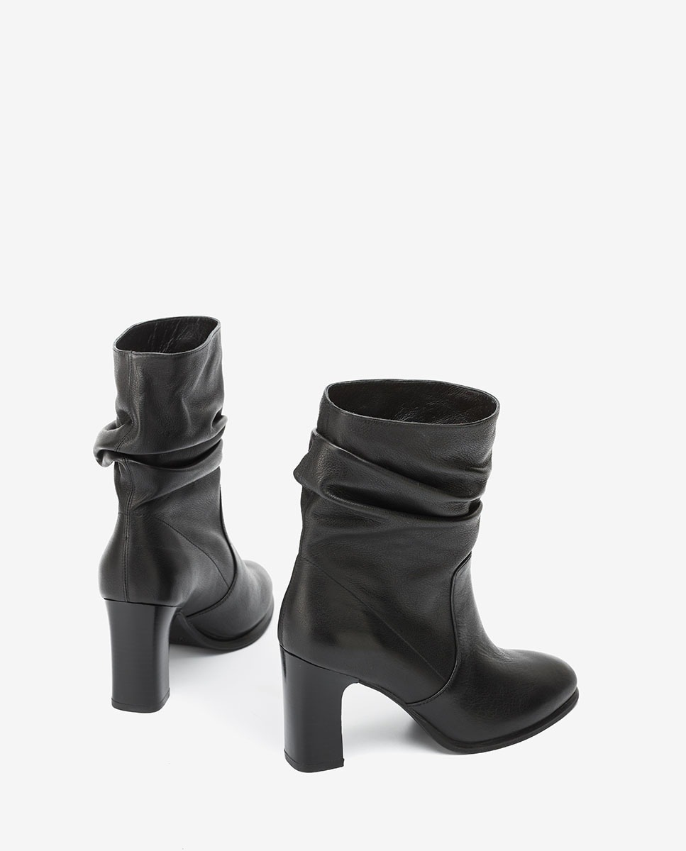 UNISA Black slouch shaft ankle boots ULANO_F20_CRE black 2